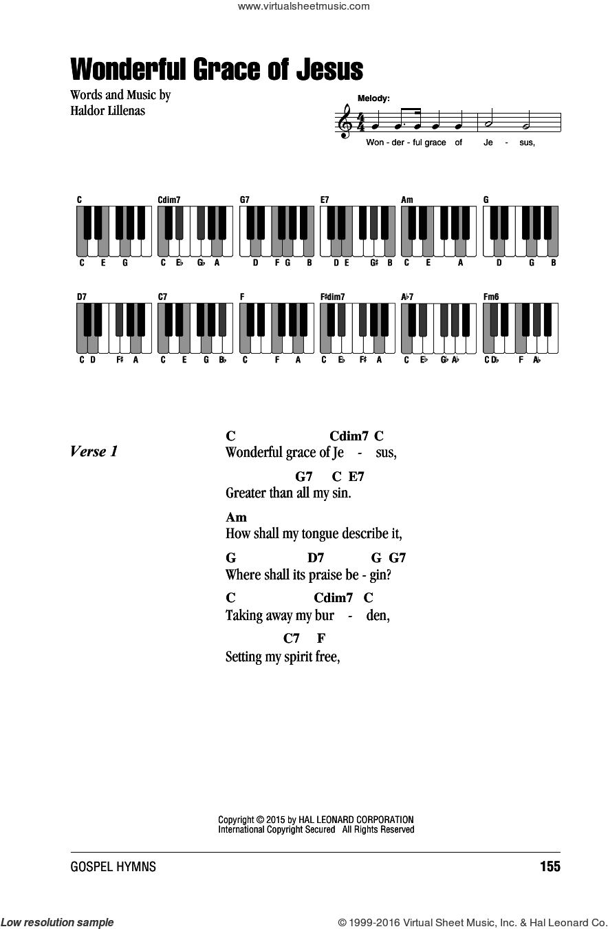 Wonderful Grace Of Jesus sheet music for piano solo (chords, lyrics, melody) by Haldor Lillenas. Score Image Preview.