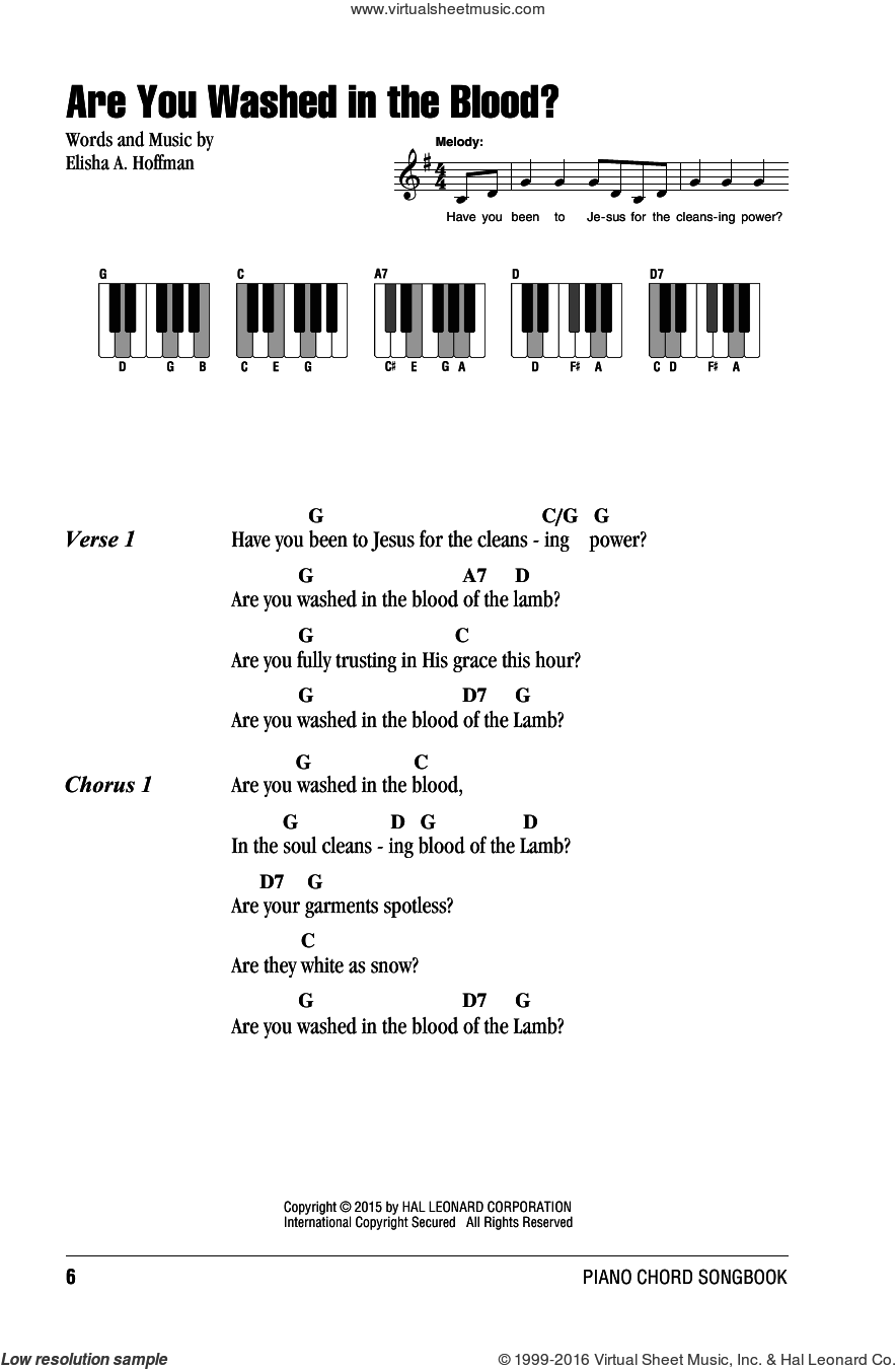 Are You Washed In The Blood? sheet music for piano solo (chords, lyrics, melody) by Elisha A. Hoffman. Score Image Preview.
