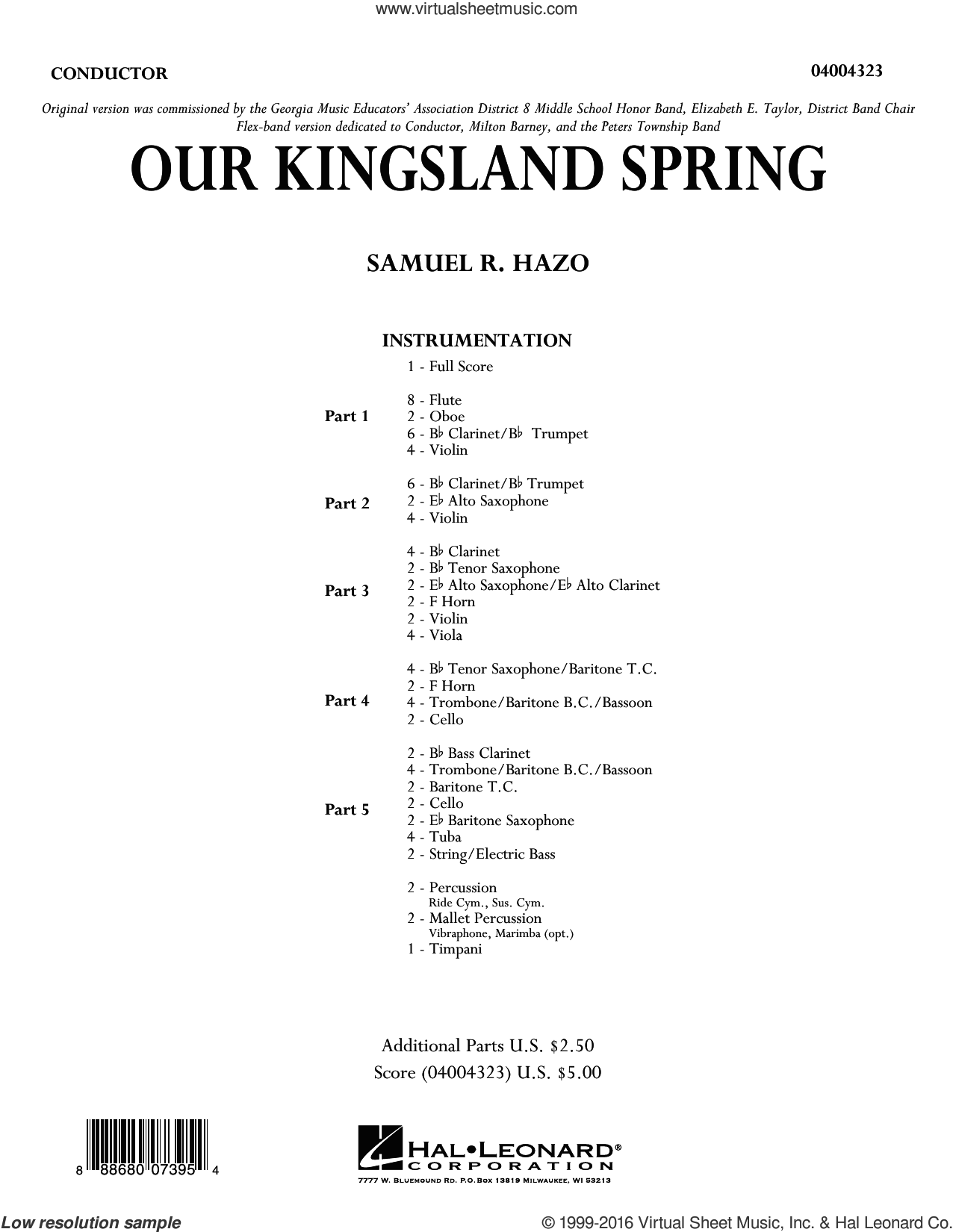 Our Kingsland Spring sheet music for concert band (full score) by Samuel R. Hazo. Score Image Preview.