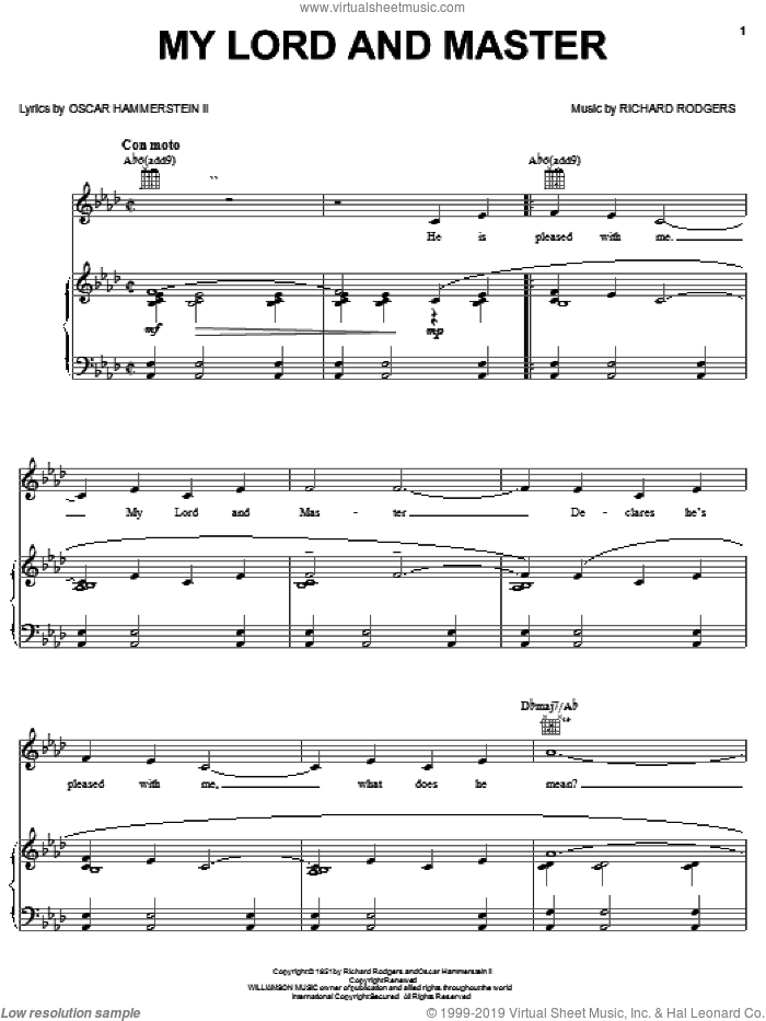 My Lord And Master sheet music for voice, piano or guitar by Rodgers & Hammerstein, Oscar II Hammerstein and Richard Rodgers, intermediate voice, piano or guitar. Score Image Preview.