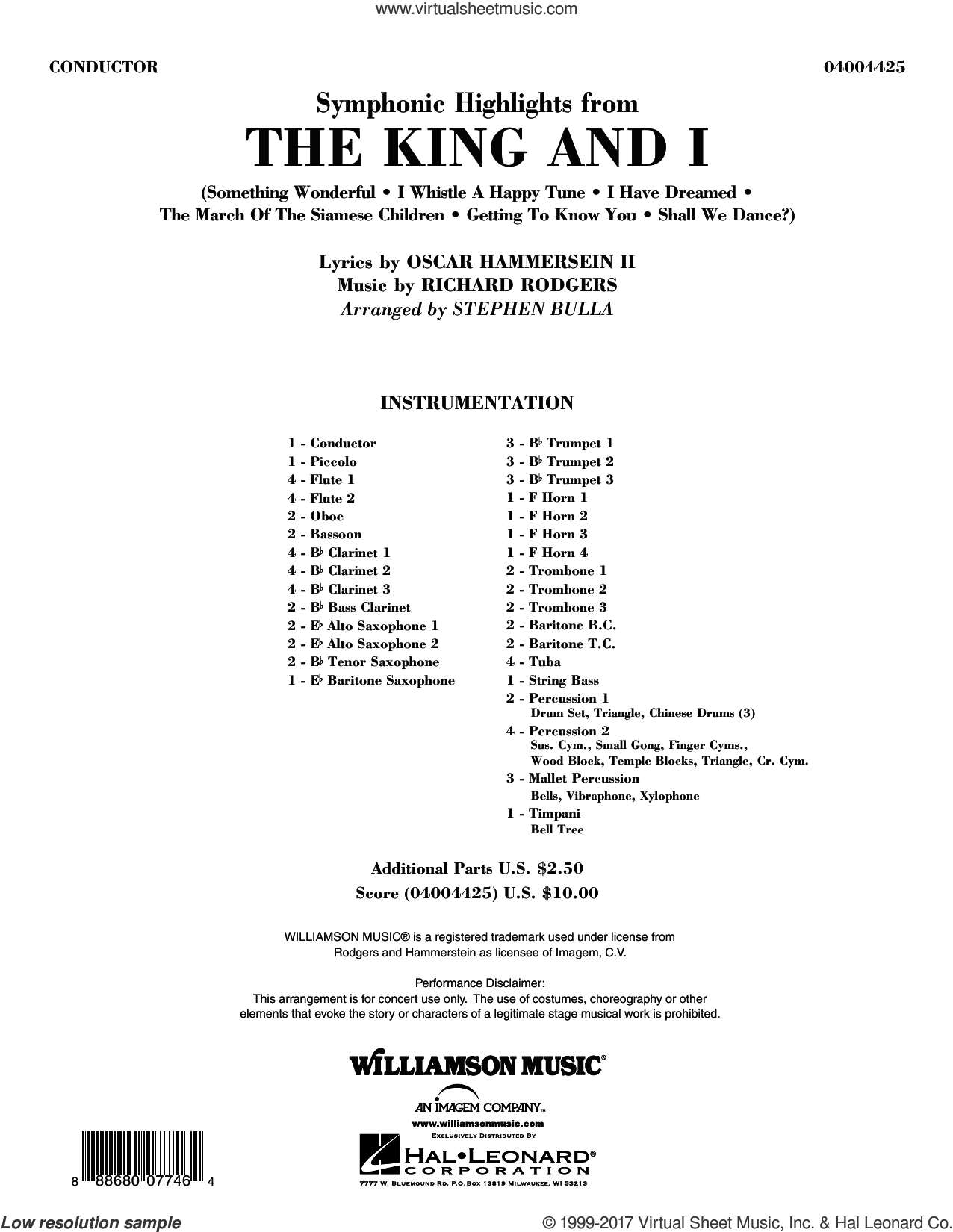 Symphonic Highlights from The King and I (COMPLETE) sheet music for concert band by Stephen Bulla, intermediate skill level
