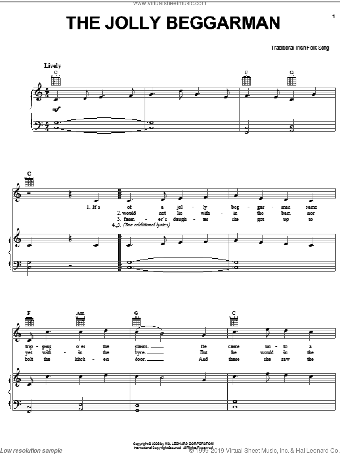 The Jolly Beggarman sheet music for voice, piano or guitar, intermediate skill level