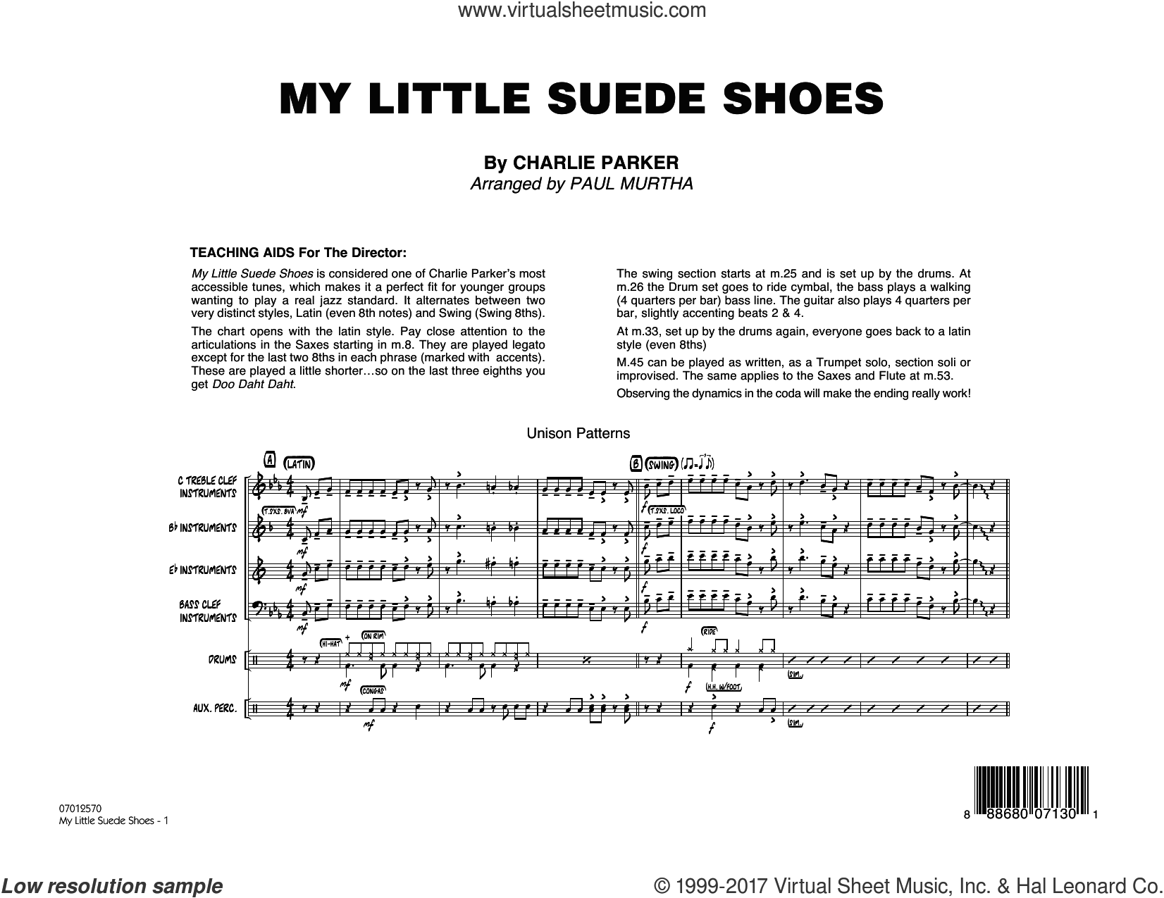 My Little Suede Shoes (COMPLETE) sheet music for jazz band by Paul Murtha and Charlie Parker, intermediate jazz band. Score Image Preview.