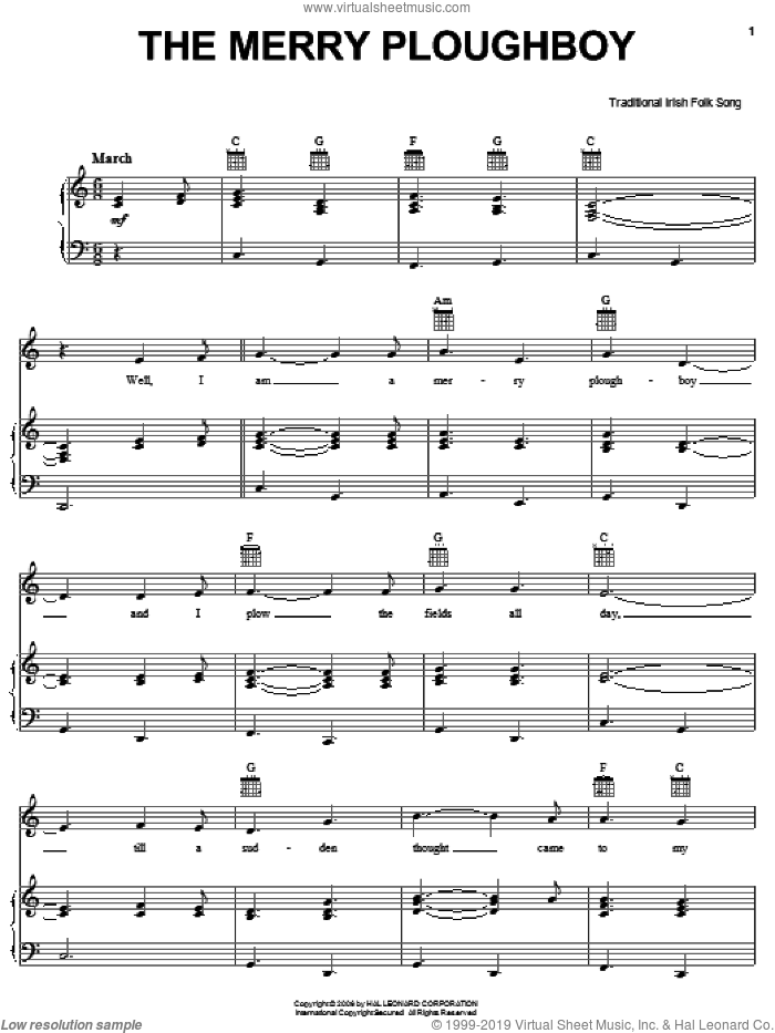 The Merry Ploughboy sheet music for voice, piano or guitar. Score Image Preview.