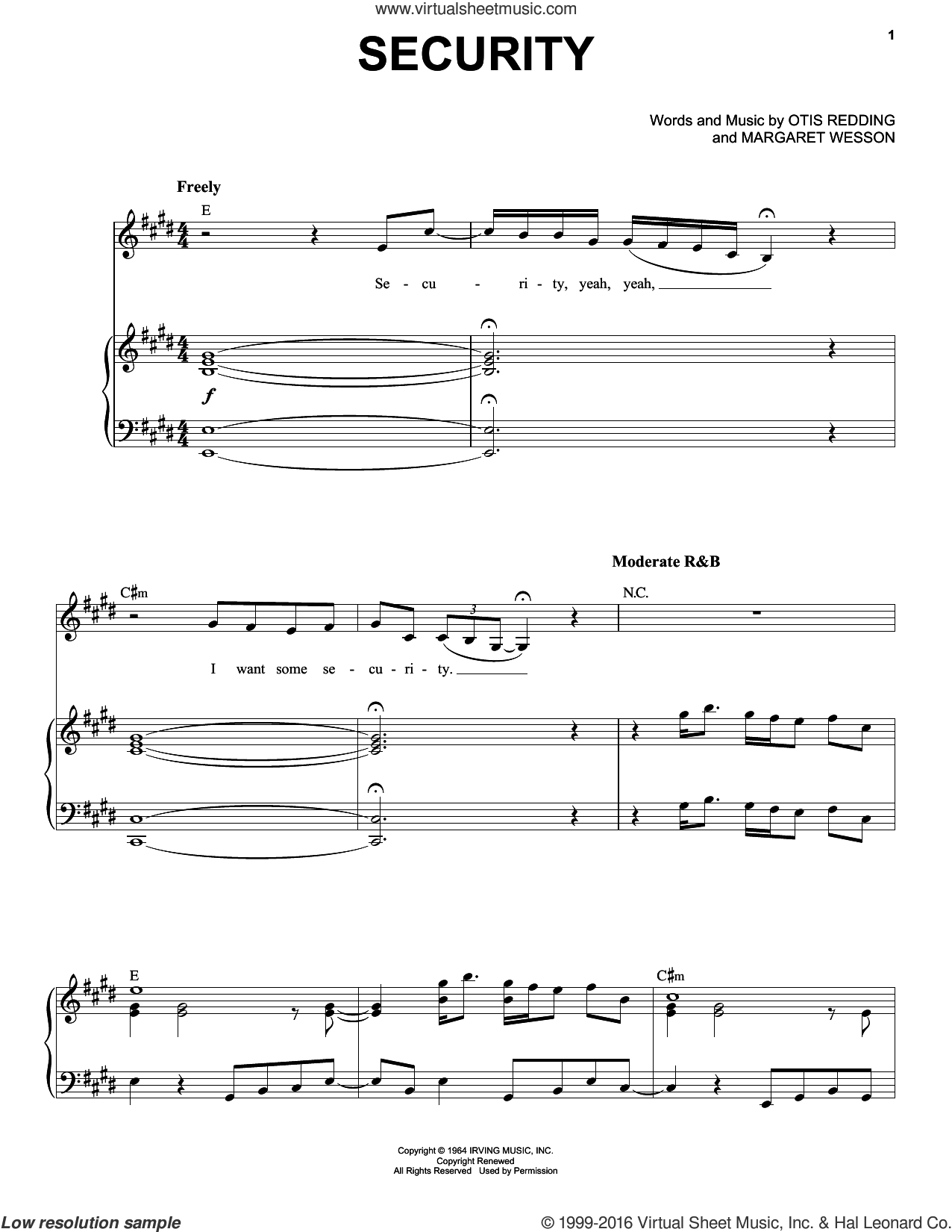 Security sheet music for voice and piano by Etta James, Margaret Wesson and Otis Redding, intermediate skill level