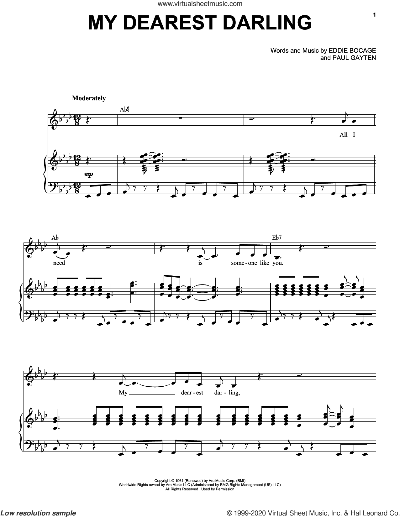My Dearest Darling sheet music for voice and piano by Etta James, Eddie Bocage and Paul Gayten, intermediate skill level