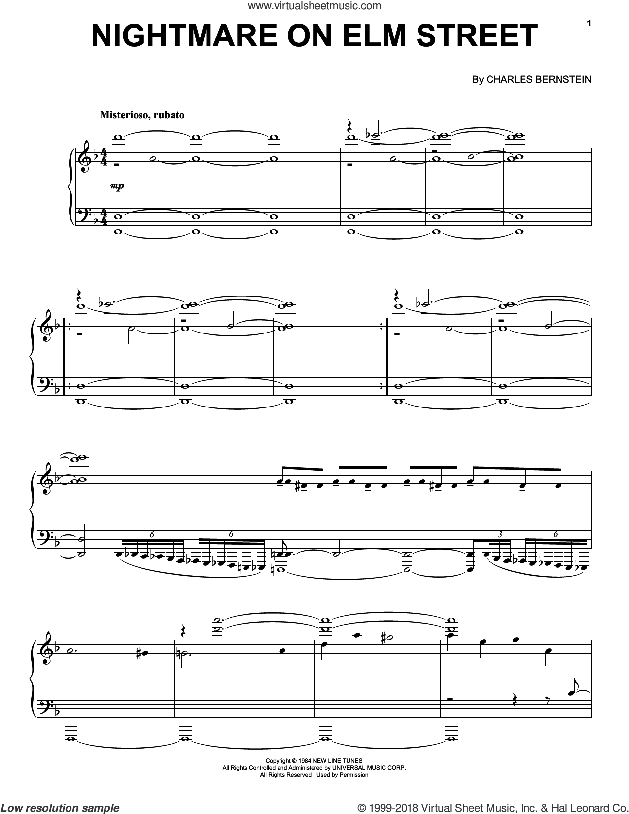 A Nightmare On Elm Street sheet music for piano solo by Charles Bernstein. Score Image Preview.