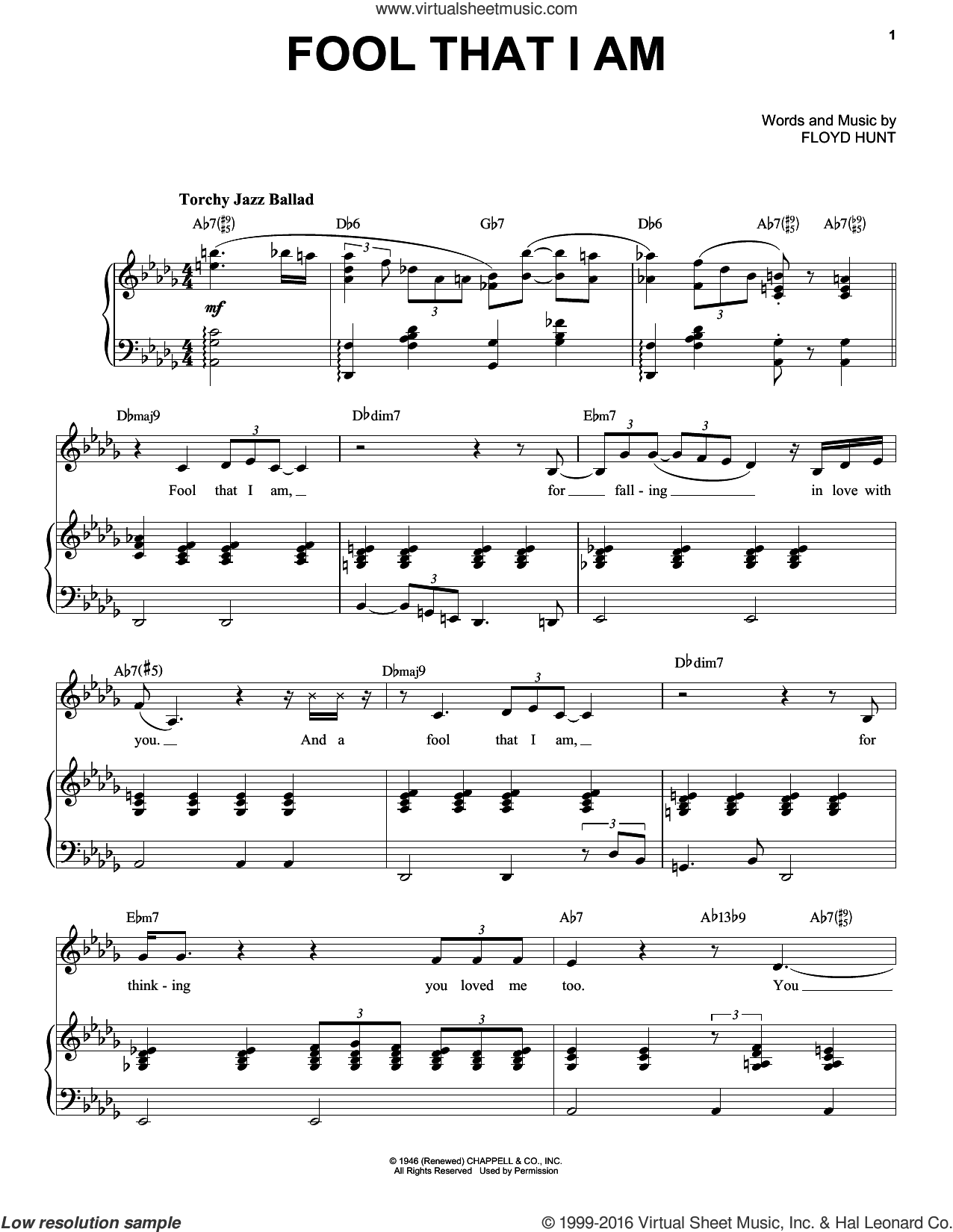 Fool That I Am sheet music for voice and piano by Etta James, Adele and Floyd Hunt, intermediate skill level
