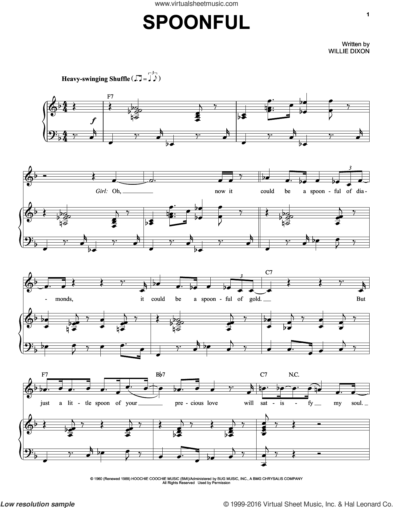 Spoonful sheet music for voice and piano by Willie Dixon, Eric Clapton and Etta James. Score Image Preview.