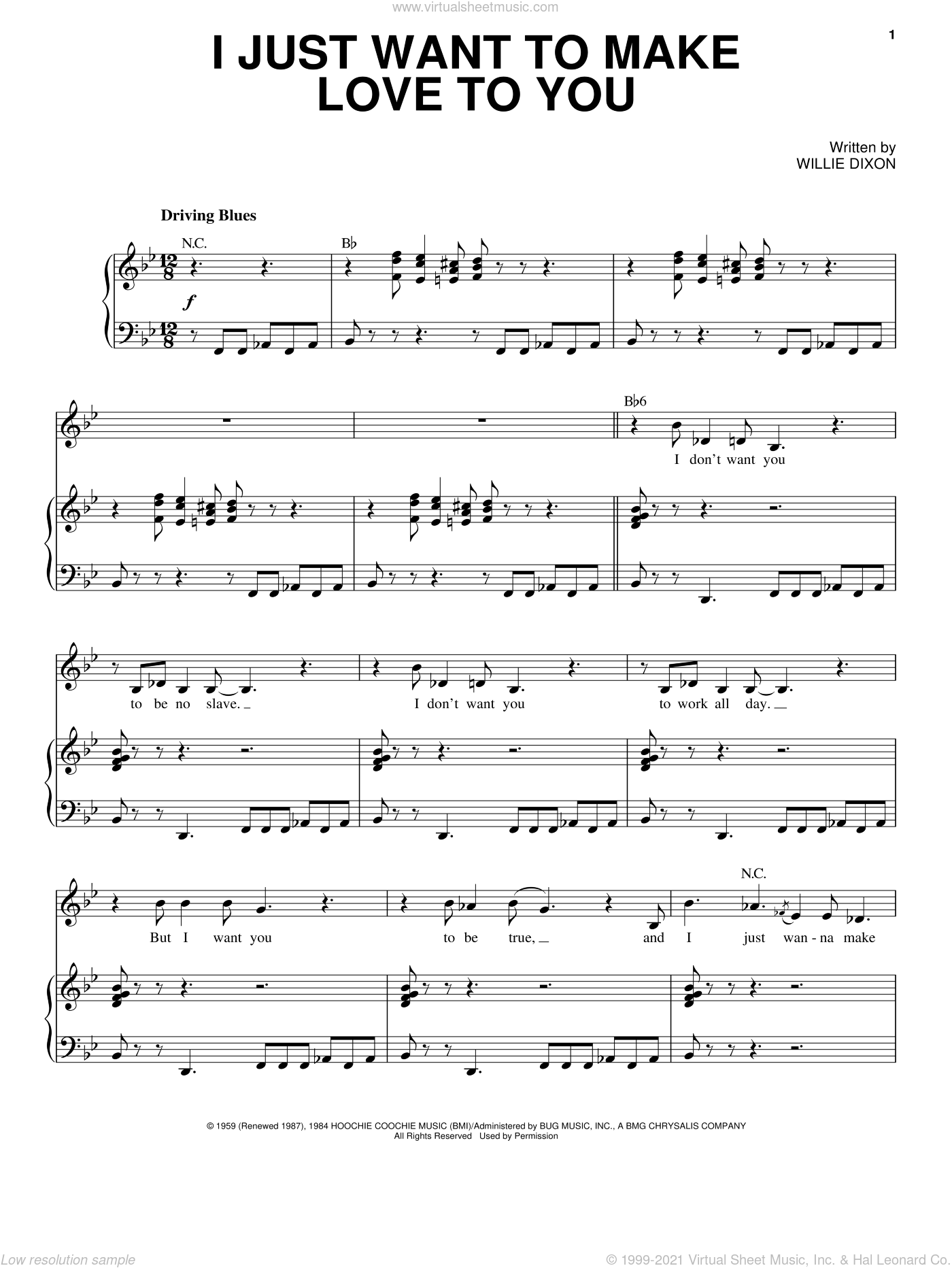 I Just Want To Make Love To You sheet music for voice and piano by Etta James, Foghat and Willie Dixon, intermediate skill level