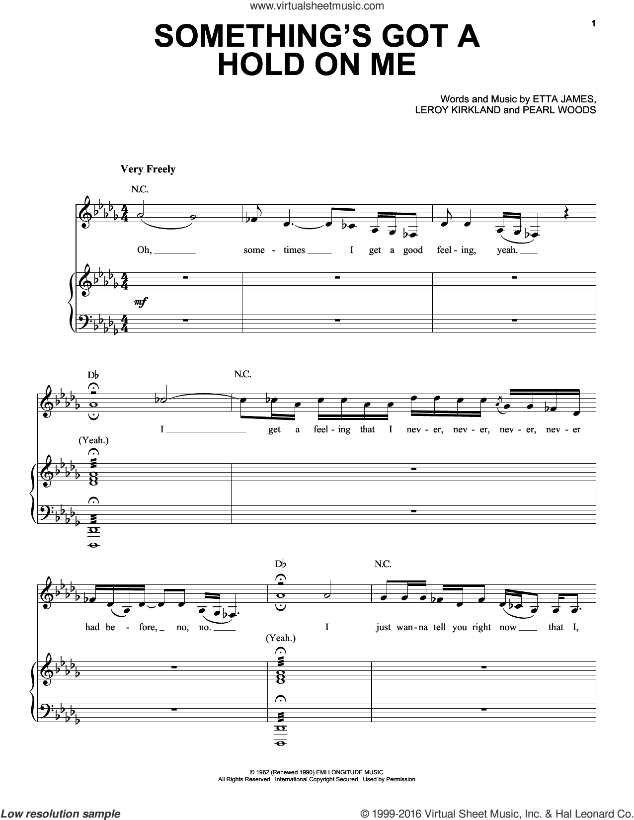 Something's Got A Hold On Me sheet music for voice and piano by Etta James, intermediate voice. Score Image Preview.