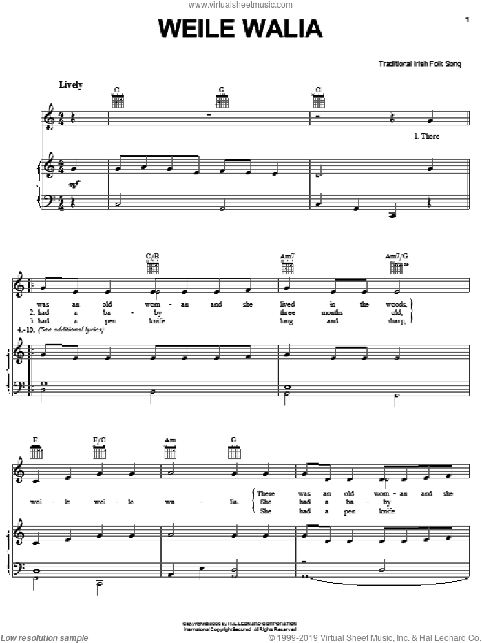 Weile Waile sheet music for voice, piano or guitar, intermediate. Score Image Preview.