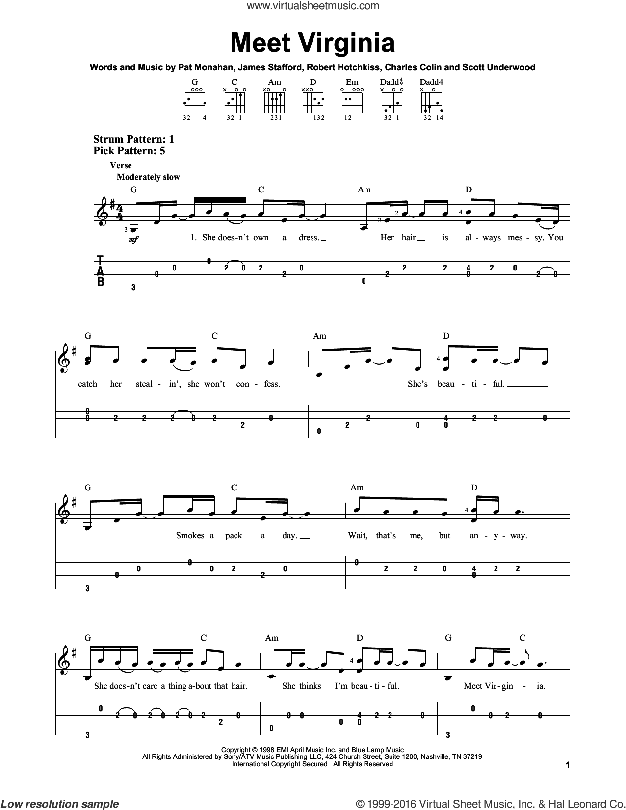 Meet Virginia sheet music for guitar solo (easy tablature) by Train and Pat Monahan, easy guitar (easy tablature). Score Image Preview.