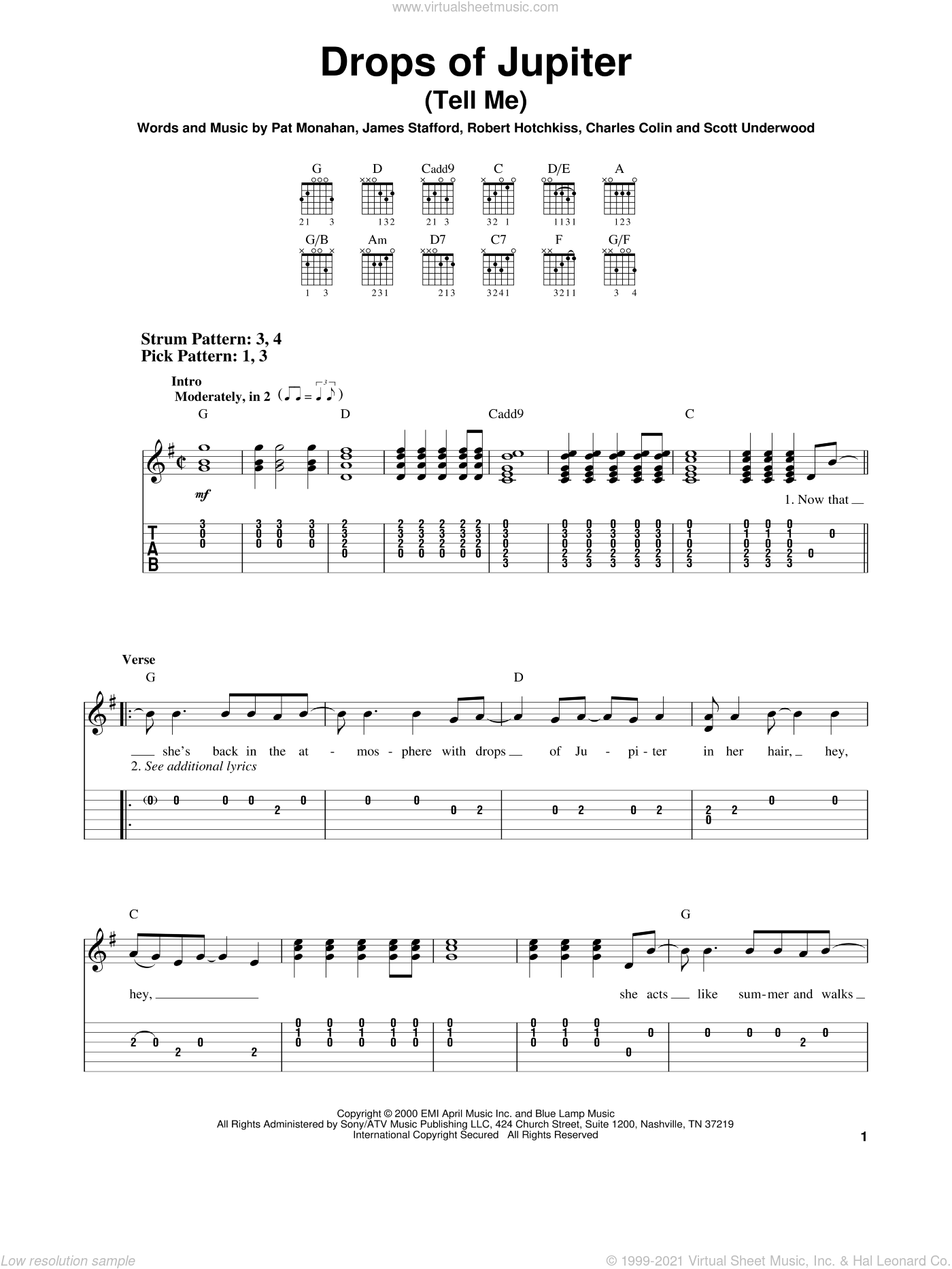Drops Of Jupiter (Tell Me) sheet music for guitar solo (easy tablature) by Train, easy guitar (easy tablature). Score Image Preview.