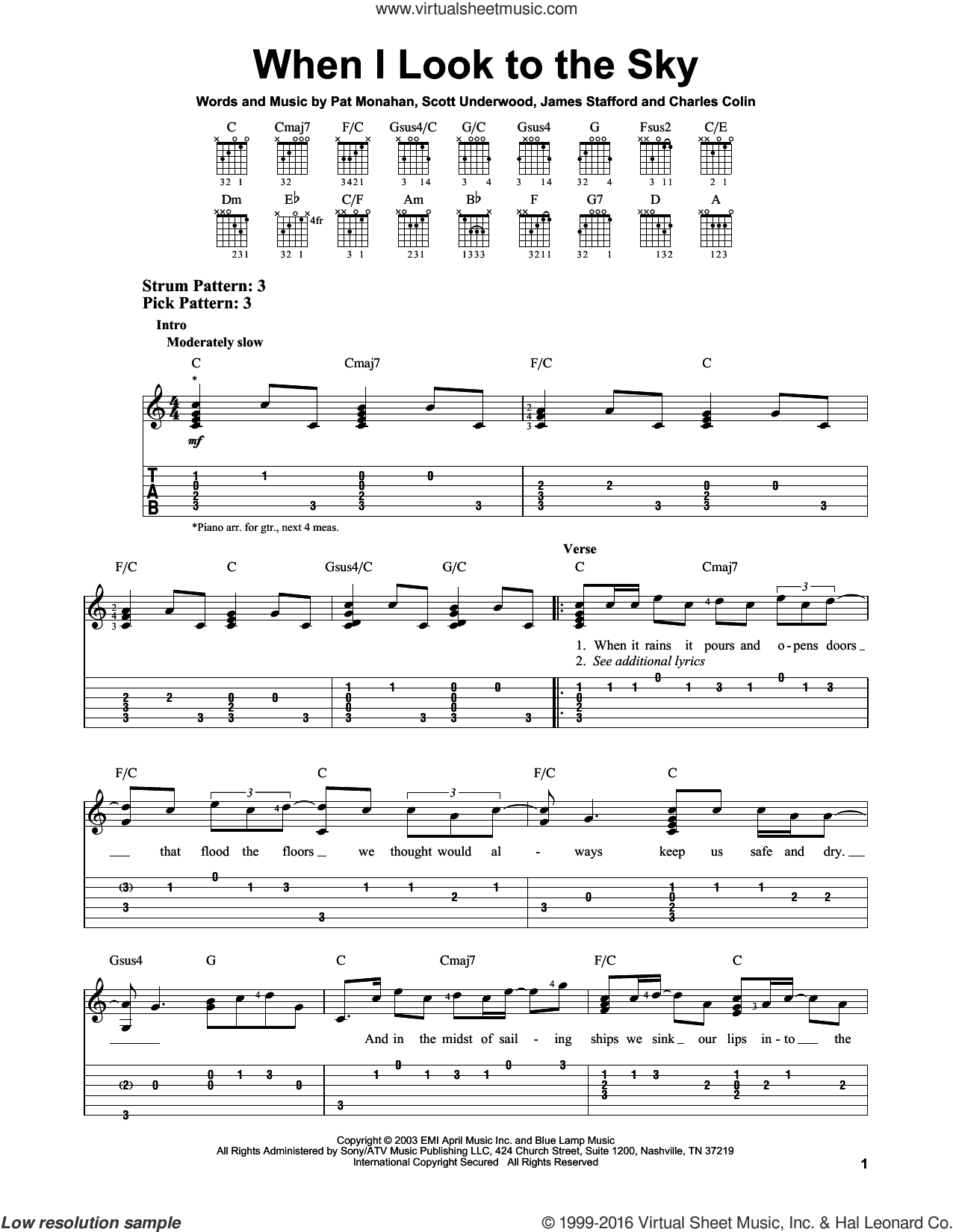 When I Look To The Sky sheet music for guitar solo (easy tablature) by Scott Underwood, Train and Pat Monahan. Score Image Preview.