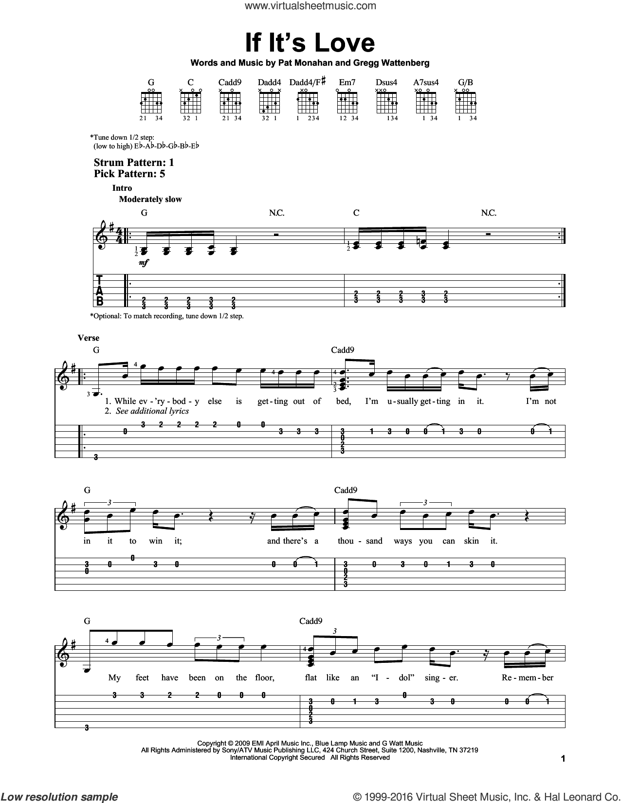 If It's Love sheet music for guitar solo (easy tablature) by Pat Monahan, Train and Gregg Wattenberg. Score Image Preview.