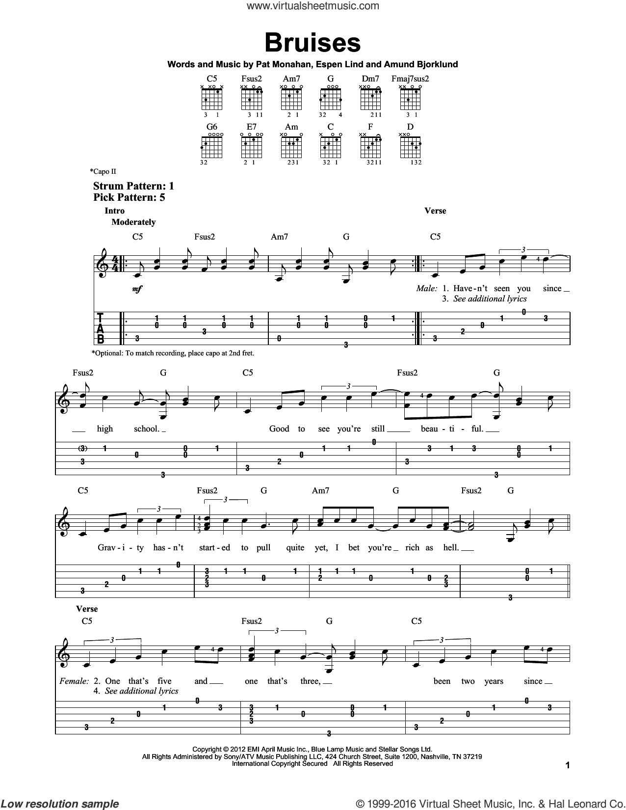 Bruises sheet music for guitar solo (easy tablature) by Train, Amund Bjorklund, Espen Lind and Pat Monahan, easy guitar (easy tablature)