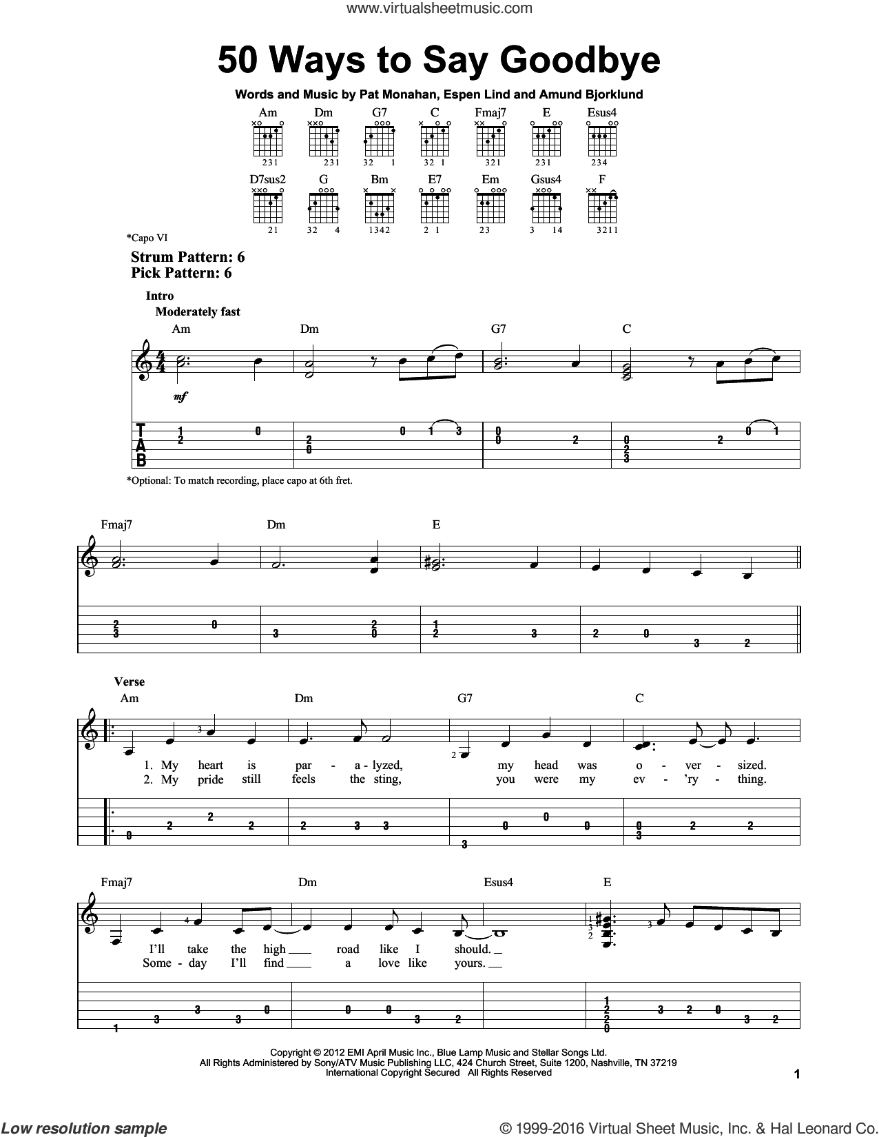 50 Ways To Say Goodbye sheet music for guitar solo (easy tablature) by Pat Monahan, Train and Amund Bjorklund. Score Image Preview.