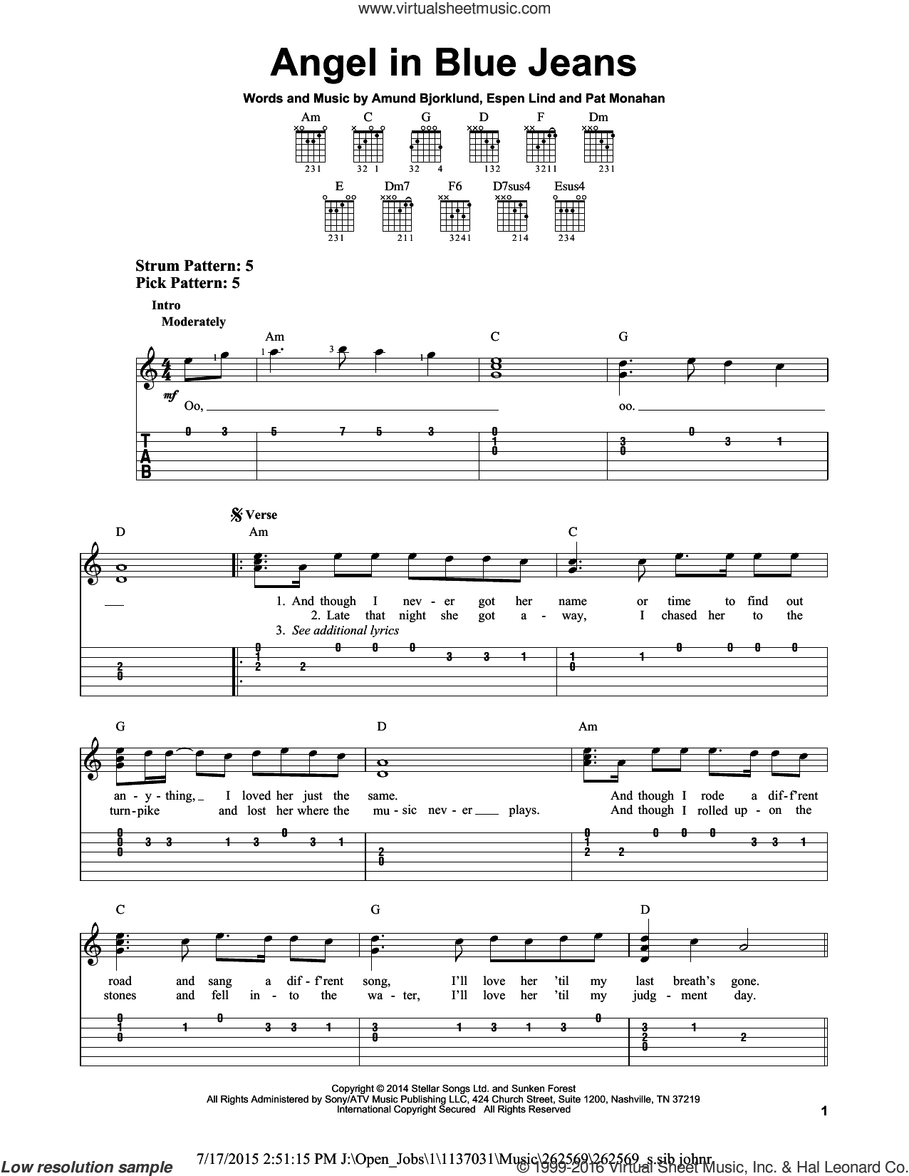 Angel In Blue Jeans sheet music for guitar solo (easy tablature) by Pat Monahan, Train and Amund Bjorklund. Score Image Preview.