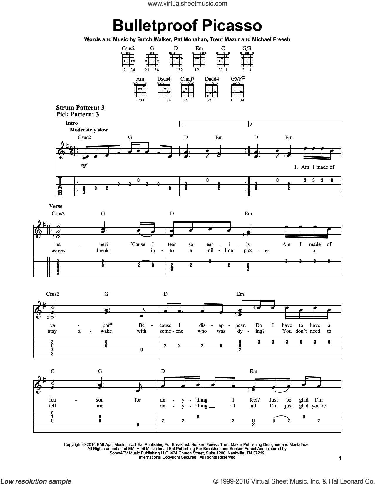 Bulletproof Picasso sheet music for guitar solo (easy tablature) by Trent Mazur, Train, Butch Walker and Pat Monahan. Score Image Preview.