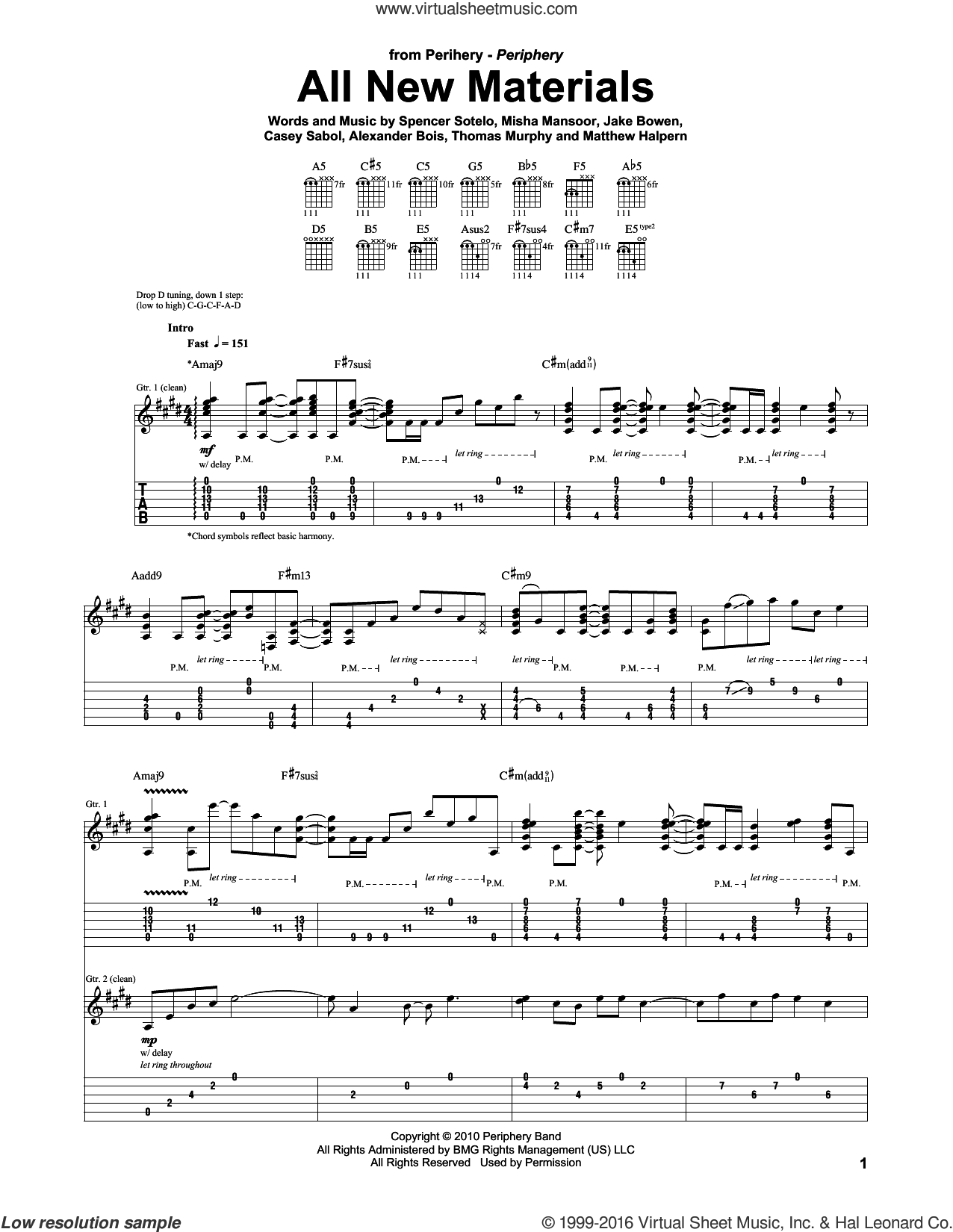 All New Materials sheet music for guitar (tablature) by Thomas Murphy and Spencer Sotelo. Score Image Preview.
