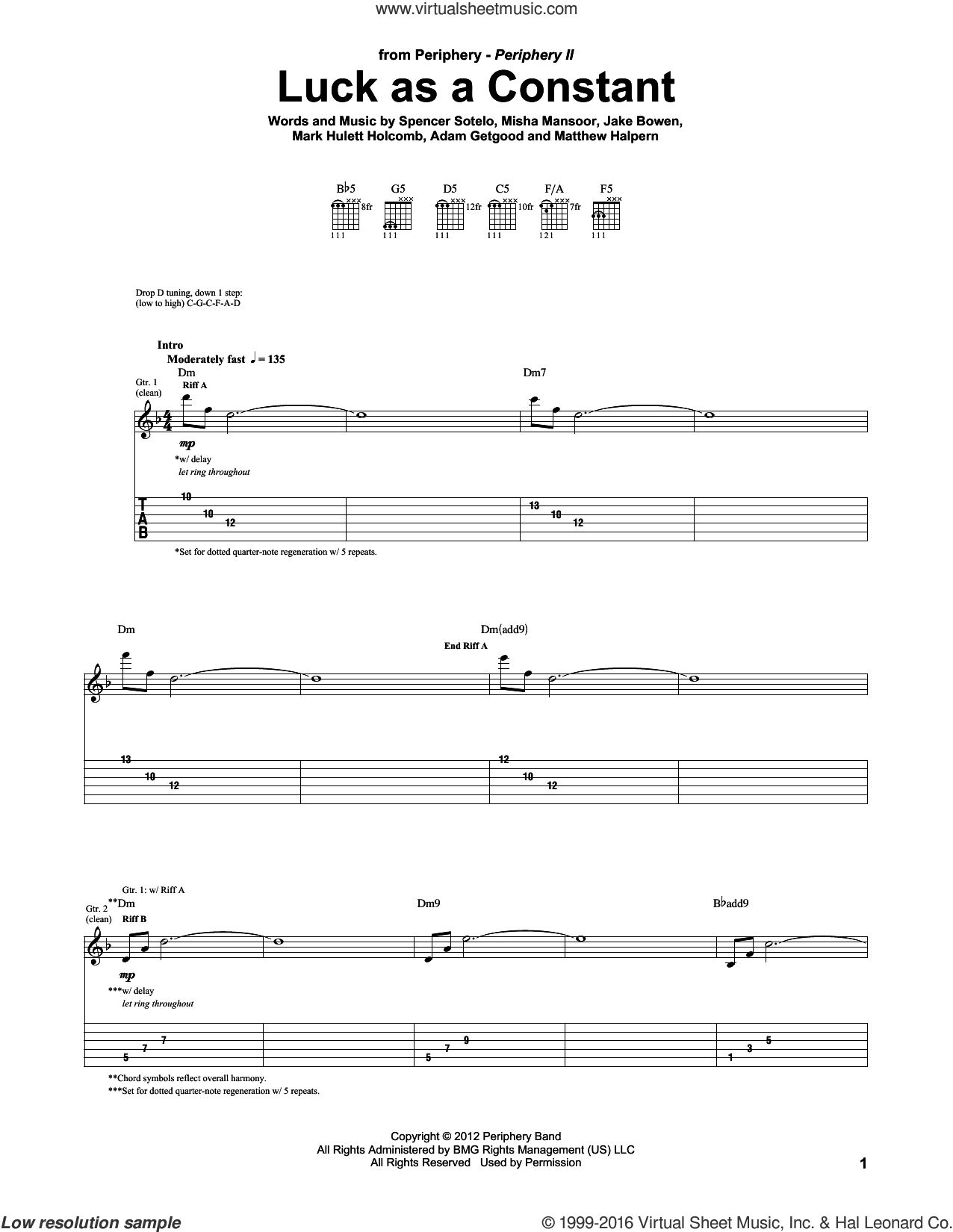 Luck As A Constant sheet music for guitar (tablature) by Spencer Sotelo. Score Image Preview.