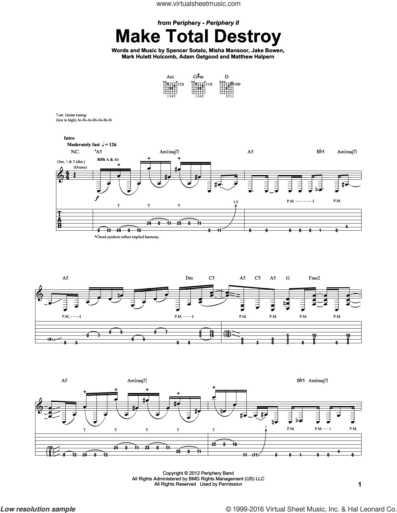 Make Total Destroy sheet music for guitar (tablature) by Periphery. Score Image Preview.
