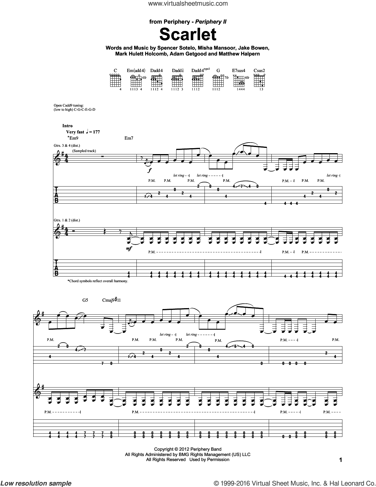 Scarlet sheet music for guitar (tablature) by Periphery, intermediate guitar (tablature). Score Image Preview.