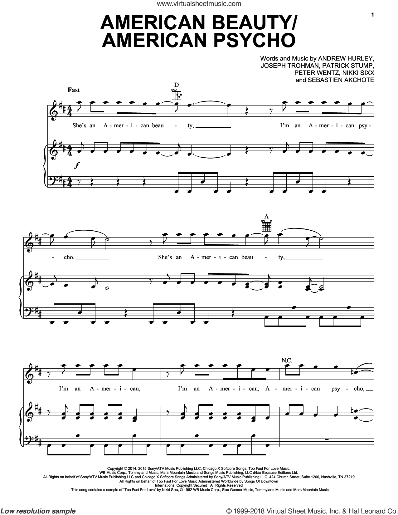 American Beauty/American Psycho sheet music for voice, piano or guitar by Sebastien Akchote, Fall Out Boy, Andrew Hurley, Nikki Sixx and Peter Wentz. Score Image Preview.