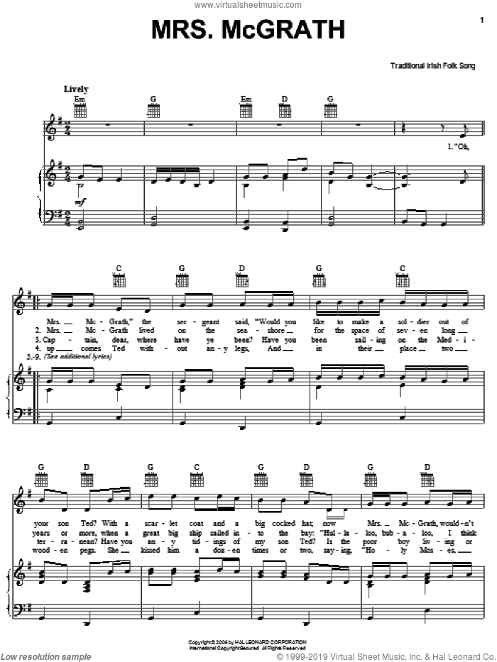 Mrs. McGrath sheet music for voice, piano or guitar. Score Image Preview.