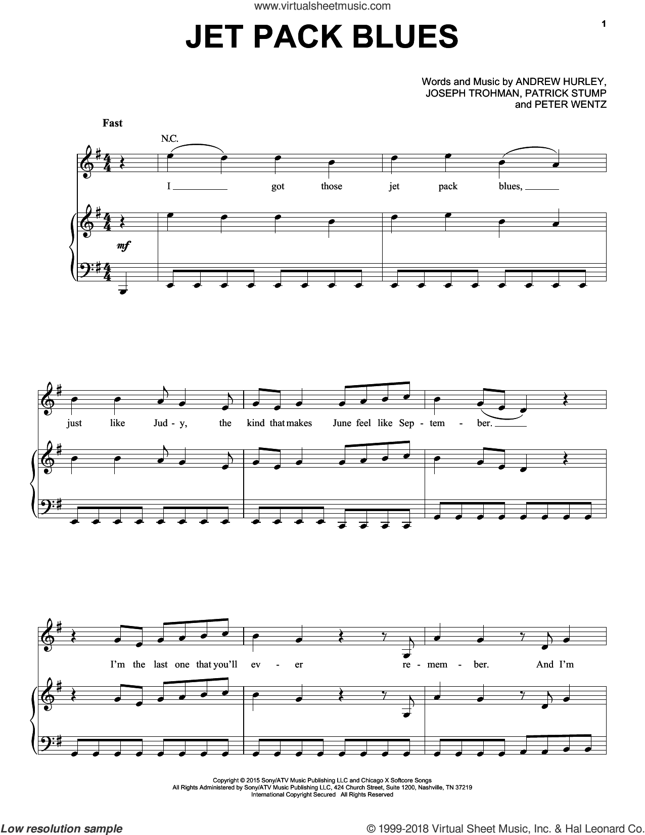 Jet Pack Blues sheet music for voice, piano or guitar by Fall Out Boy, intermediate. Score Image Preview.