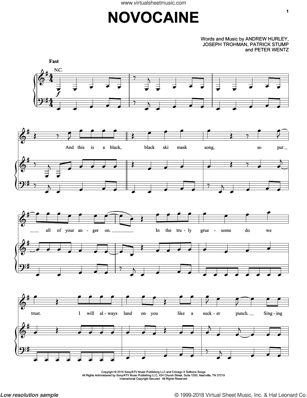 Novocaine sheet music for voice, piano or guitar by Fall Out Boy, Andrew Hurley, Joseph Trohman, Patrick Stump and Peter Wentz, intermediate skill level