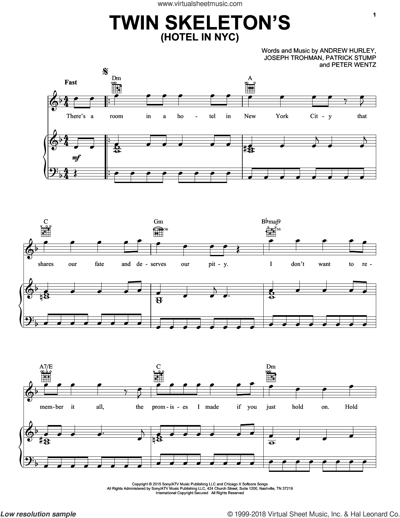 Twin Skeleton's (Hotel In NYC) sheet music for voice, piano or guitar by Peter Wentz, Fall Out Boy and Andrew Hurley. Score Image Preview.