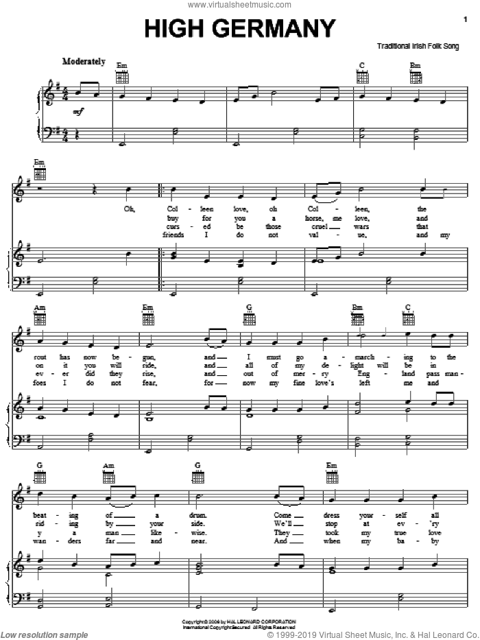 High Germany sheet music for voice, piano or guitar, intermediate skill level