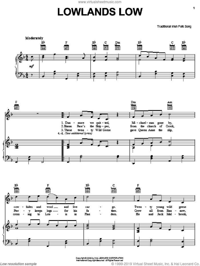 Lowlands Low sheet music for voice, piano or guitar, intermediate skill level