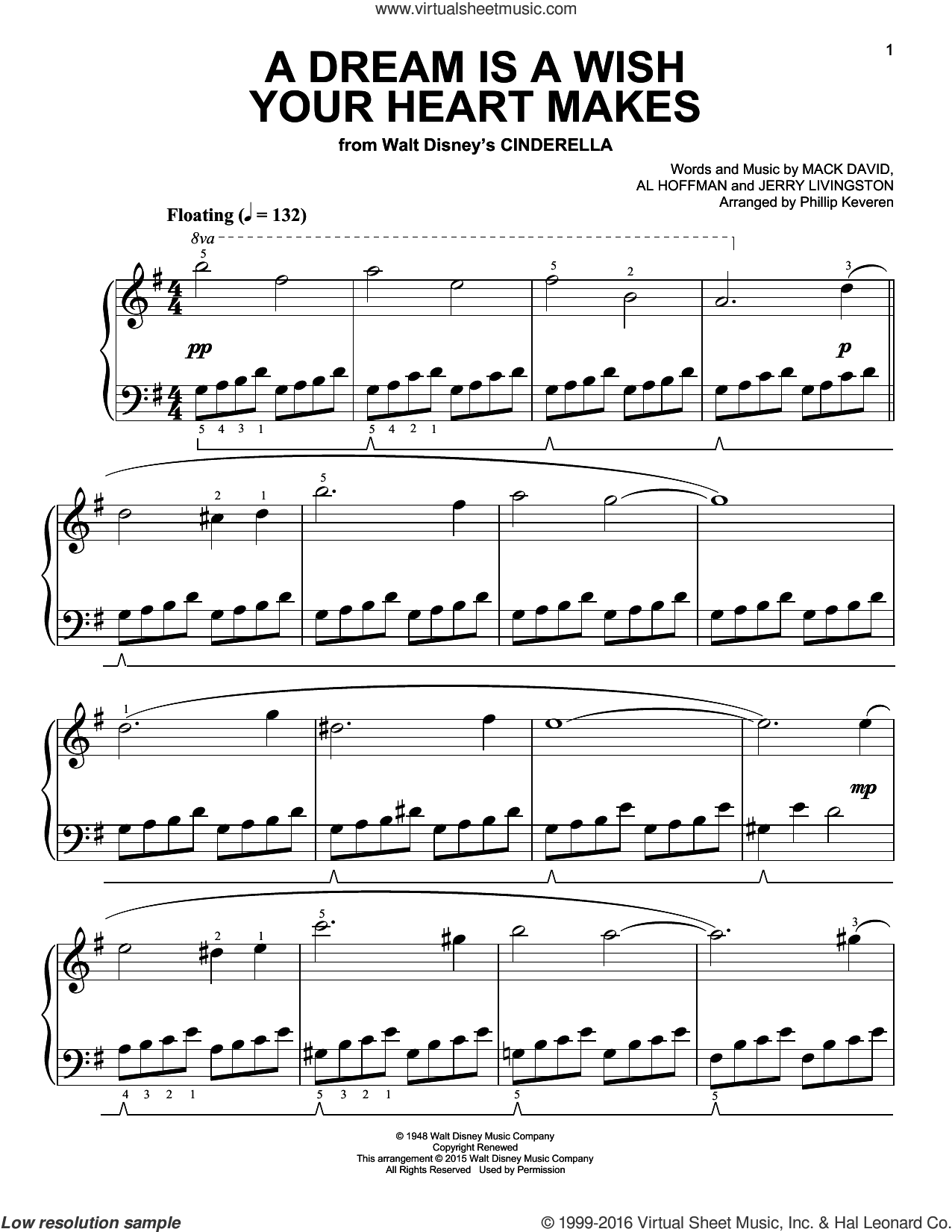 A Dream Is A Wish Your Heart Makes sheet music for piano solo by Al Hoffman, Phillip Keveren, Linda Ronstadt, Jerry Livingston and Mack David, easy skill level