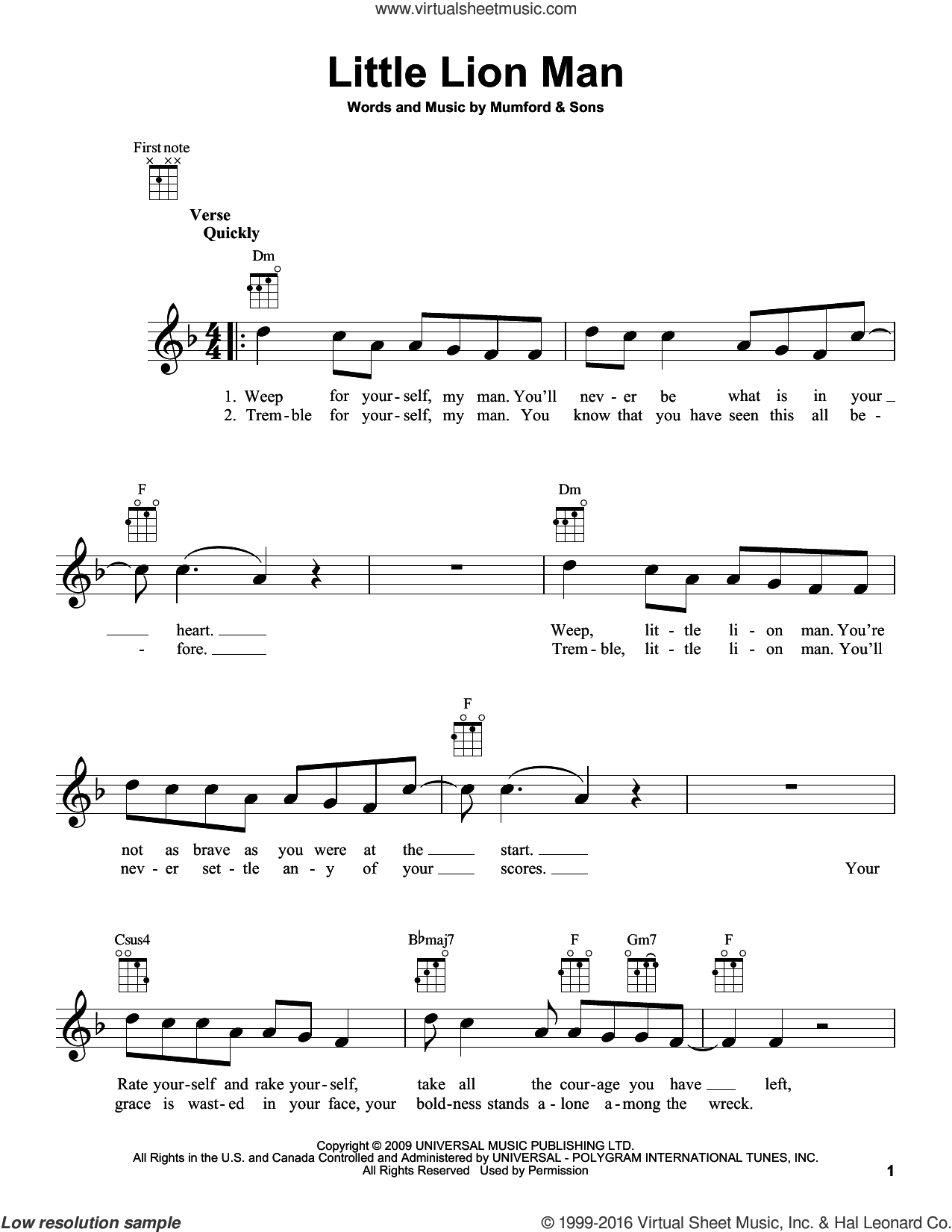 Little Lion Man sheet music for ukulele by Mumford & Sons, intermediate. Score Image Preview.