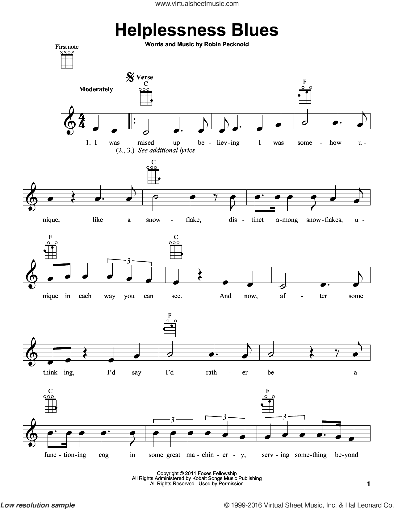 Helplessness Blues sheet music for ukulele by Fleet Foxes and Robin Pecknold, intermediate skill level