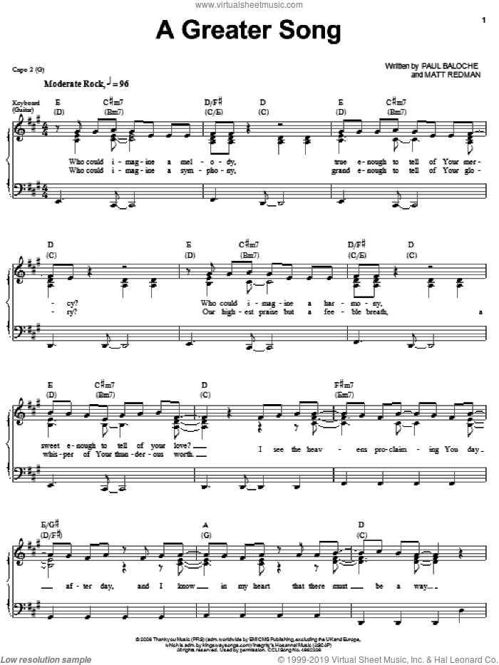 A Greater Song sheet music for voice, piano or guitar by Paul Baloche and Matt Redman, intermediate voice, piano or guitar. Score Image Preview.