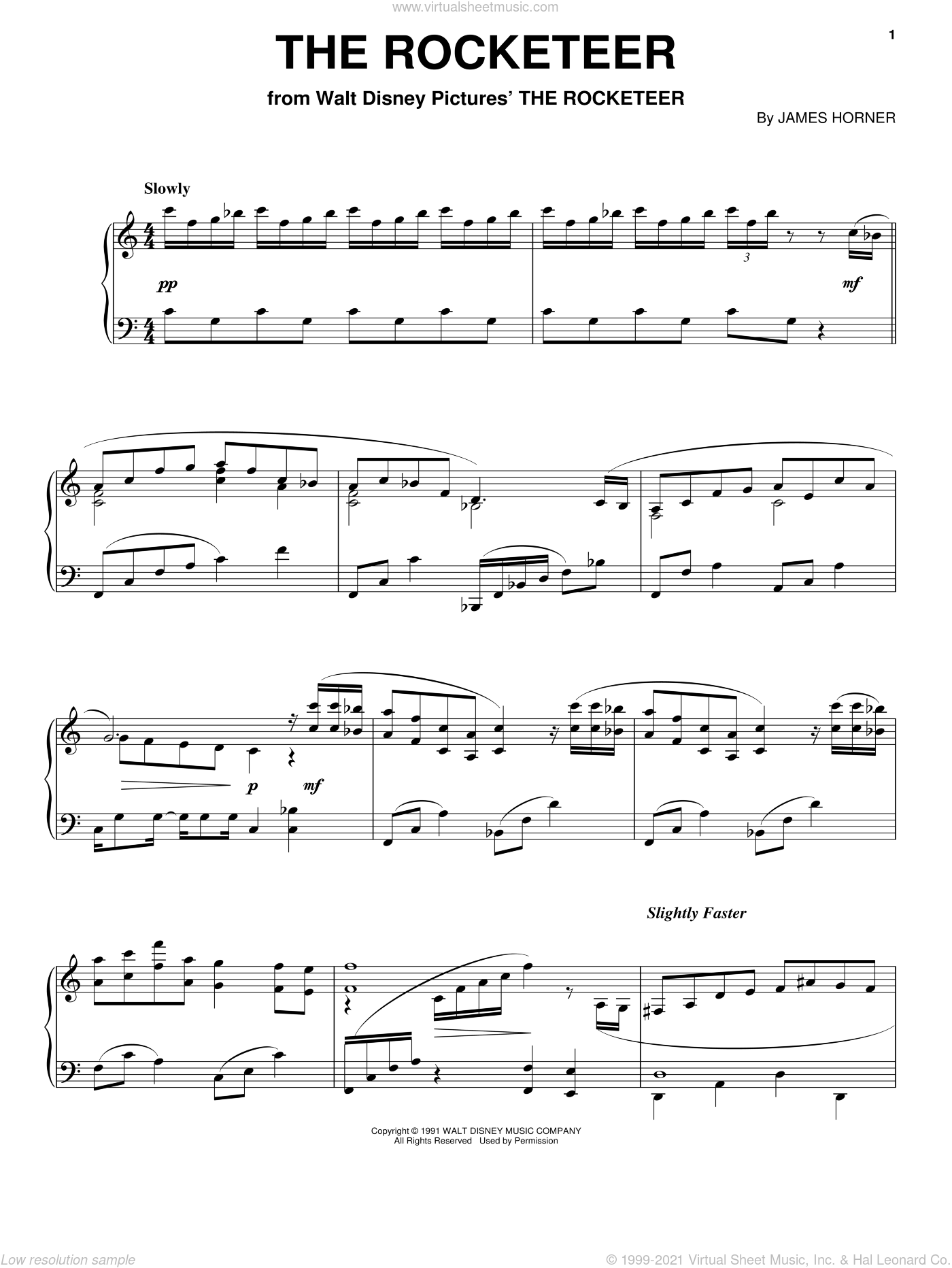 Rocketeer End Titles sheet music for piano solo by James Horner, classical score, intermediate skill level