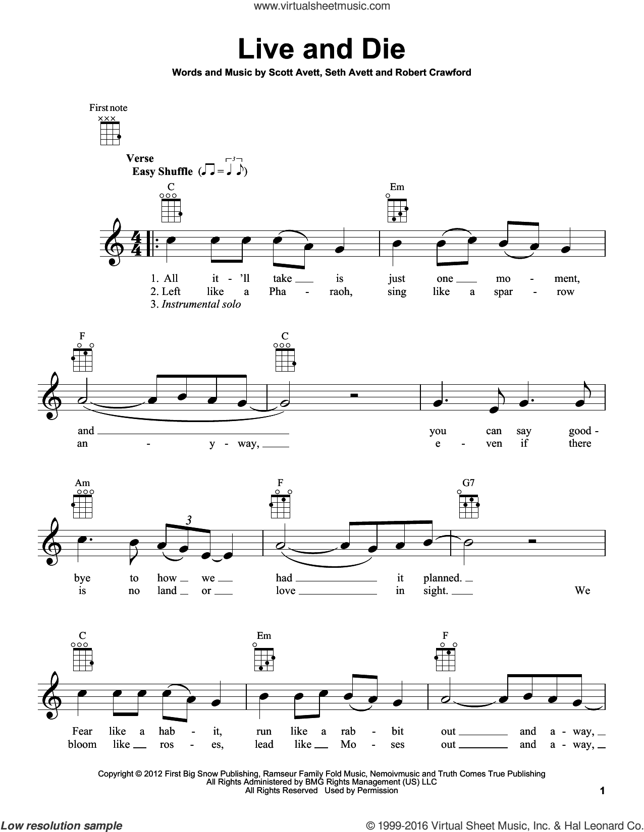 Live And Die sheet music for ukulele by The Avett Brothers. Score Image Preview.