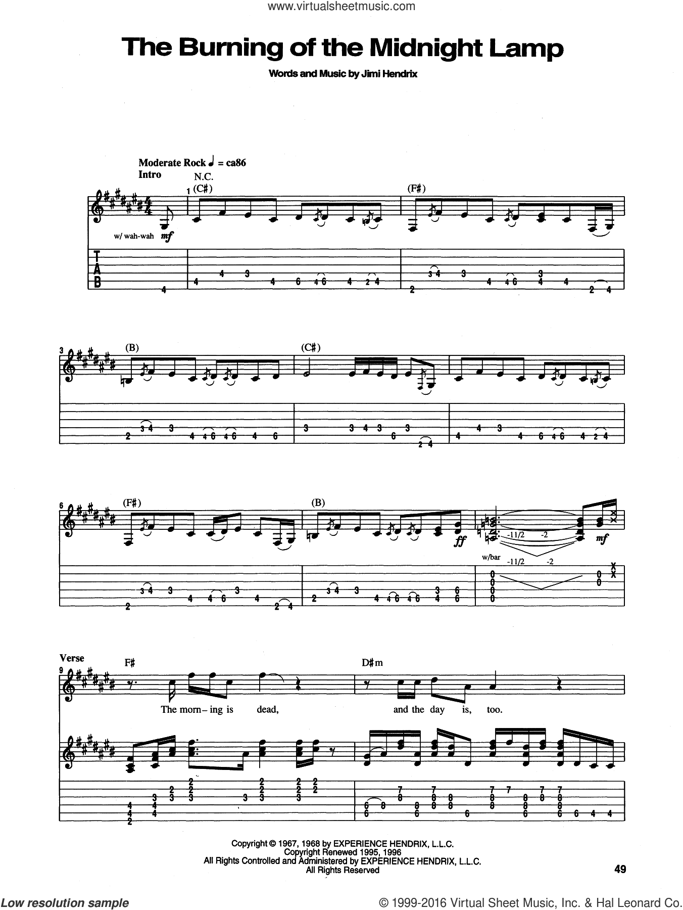 The Burning Of The Midnight Lamp sheet music for guitar (tablature) by Jimi Hendrix. Score Image Preview.