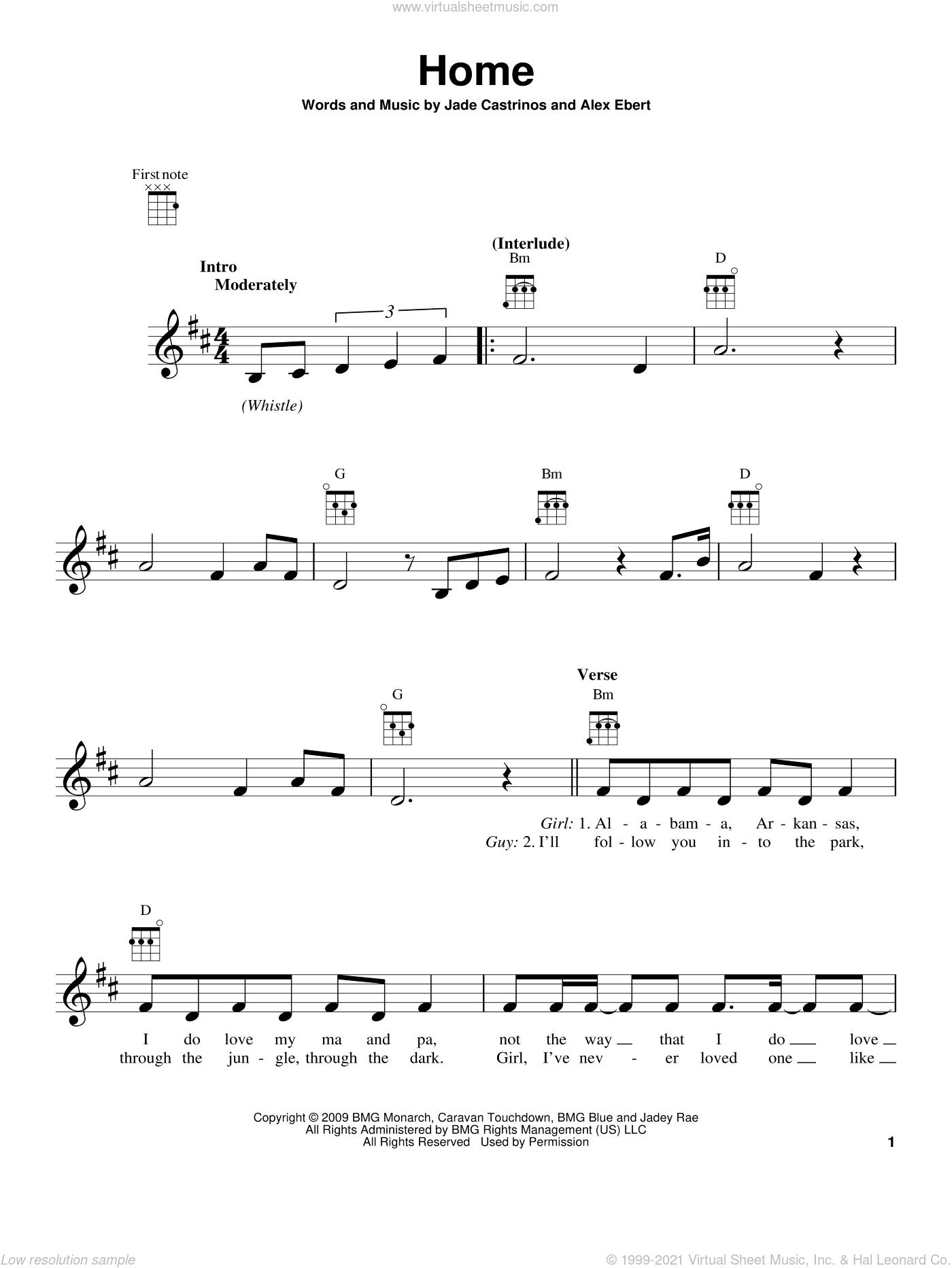 Home sheet music for ukulele by Jade Castrinos and Edward Sharpe & the Magnetic Zeros. Score Image Preview.