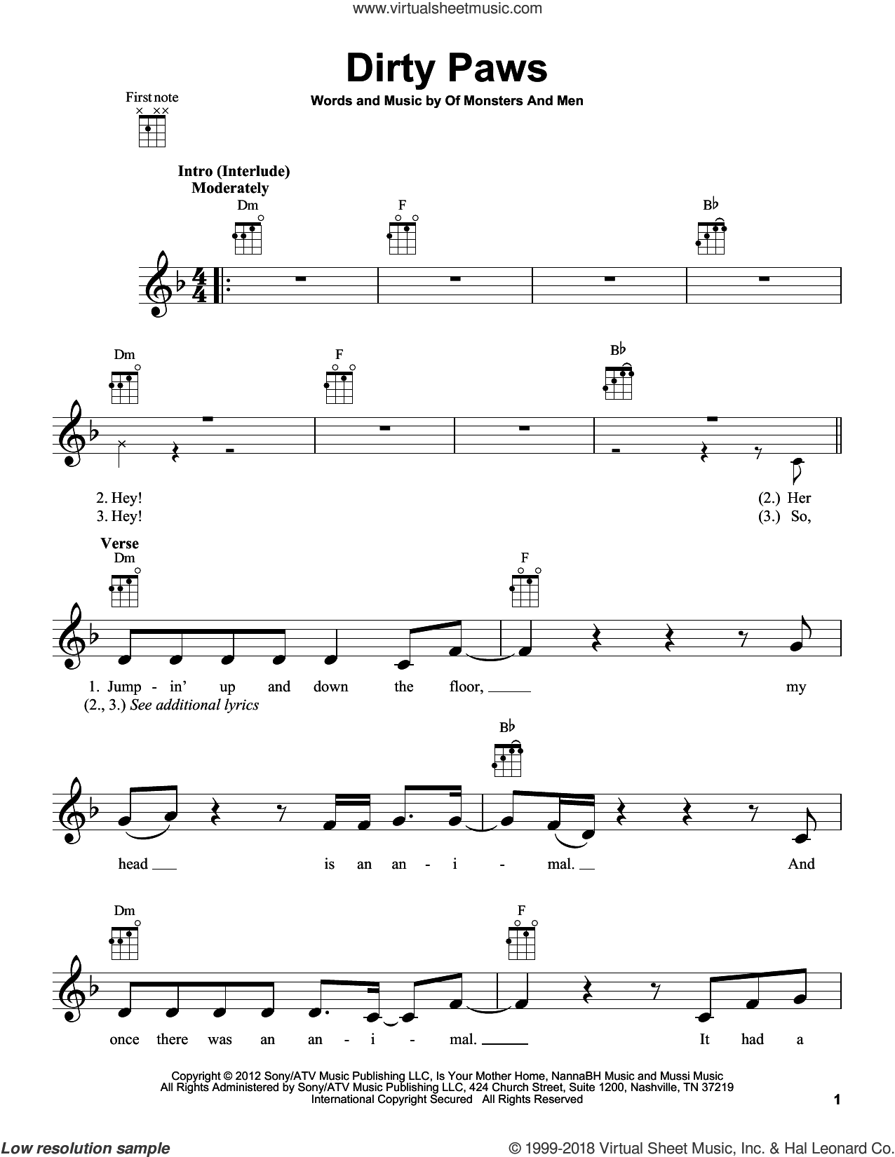 Dirty Paws sheet music for ukulele by Of Monsters And Men, intermediate skill level