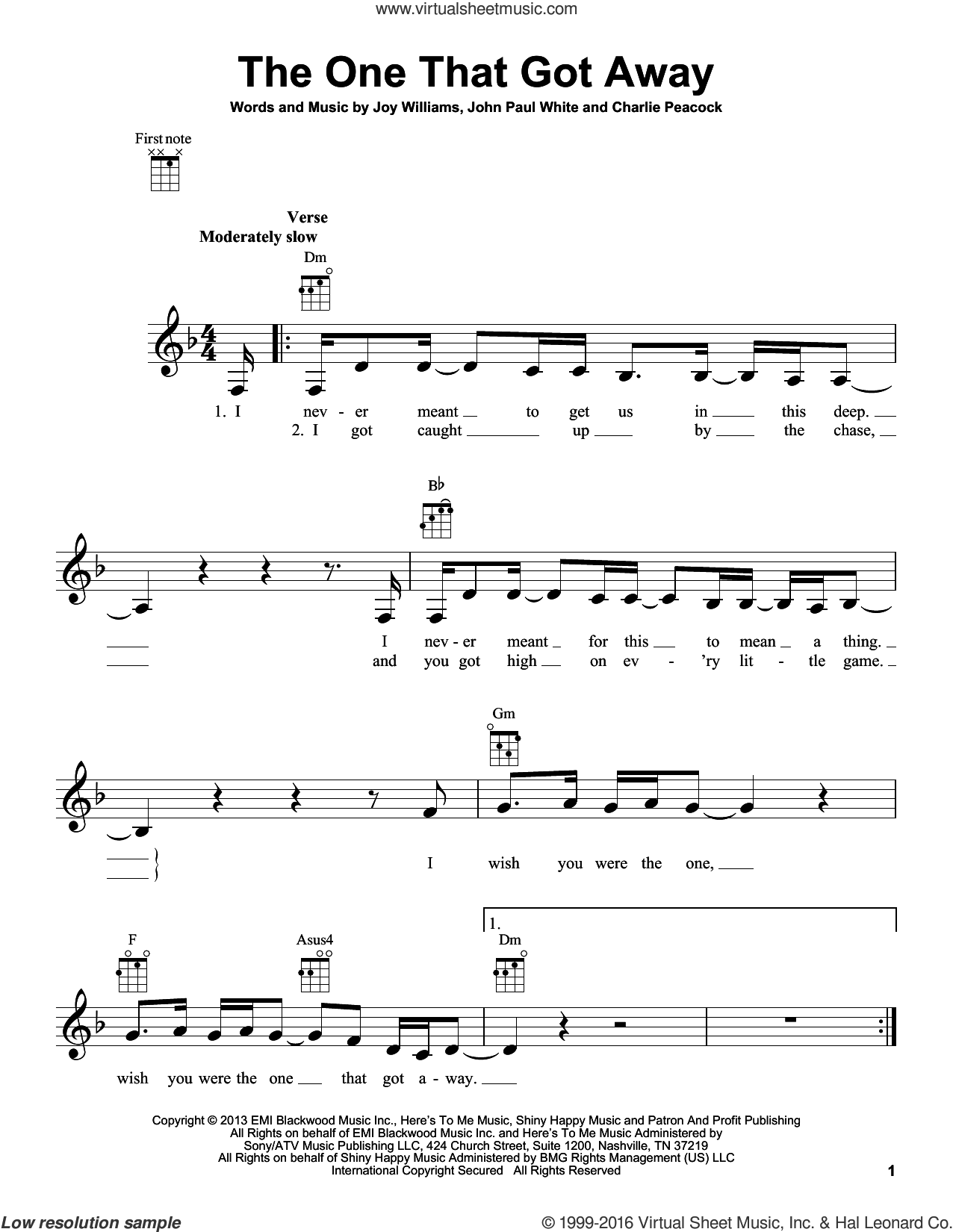 The One That Got Away sheet music for ukulele by Joy Williams, Charlie Peacock and John Paul White. Score Image Preview.