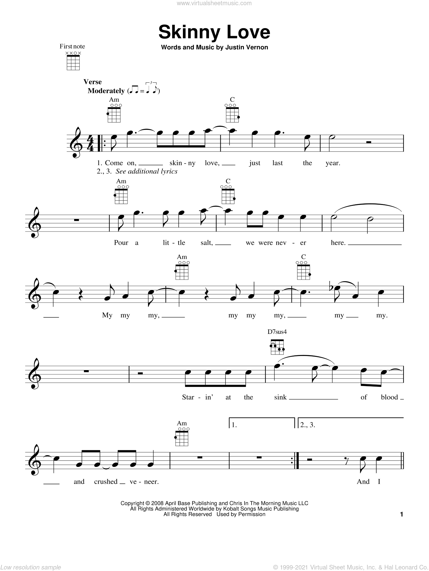 Skinny Love sheet music for ukulele by Bon Iver, classical score, intermediate ukulele. Score Image Preview.
