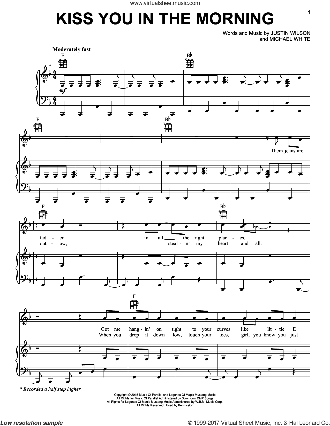 Kiss You In The Morning sheet music for voice, piano or guitar by Michael Ray, Justin Wilson and Michael White, intermediate skill level