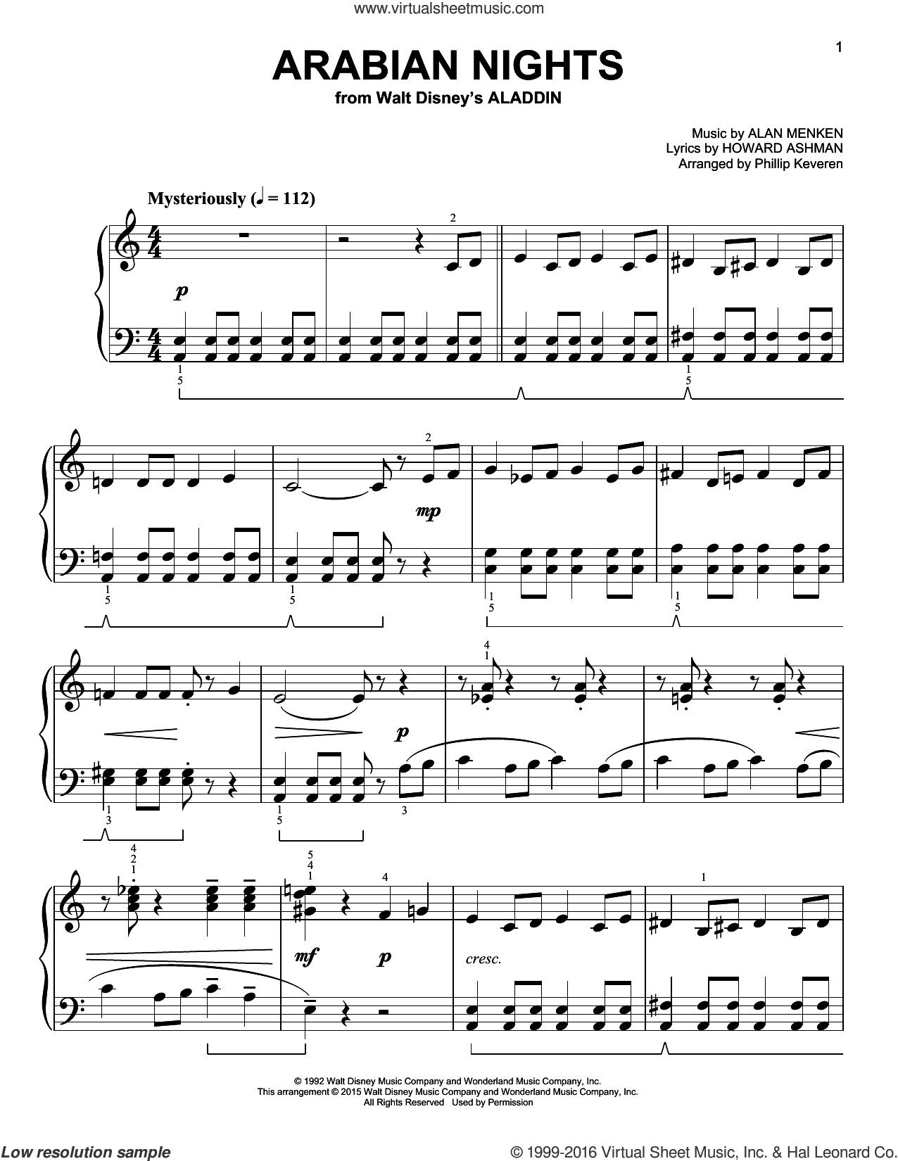 Arabian Nights [Classical version] (from Aladdin) (arr. Phillip Keveren) sheet music for piano solo by Alan Menken, Phillip Keveren and Howard Ashman, easy skill level