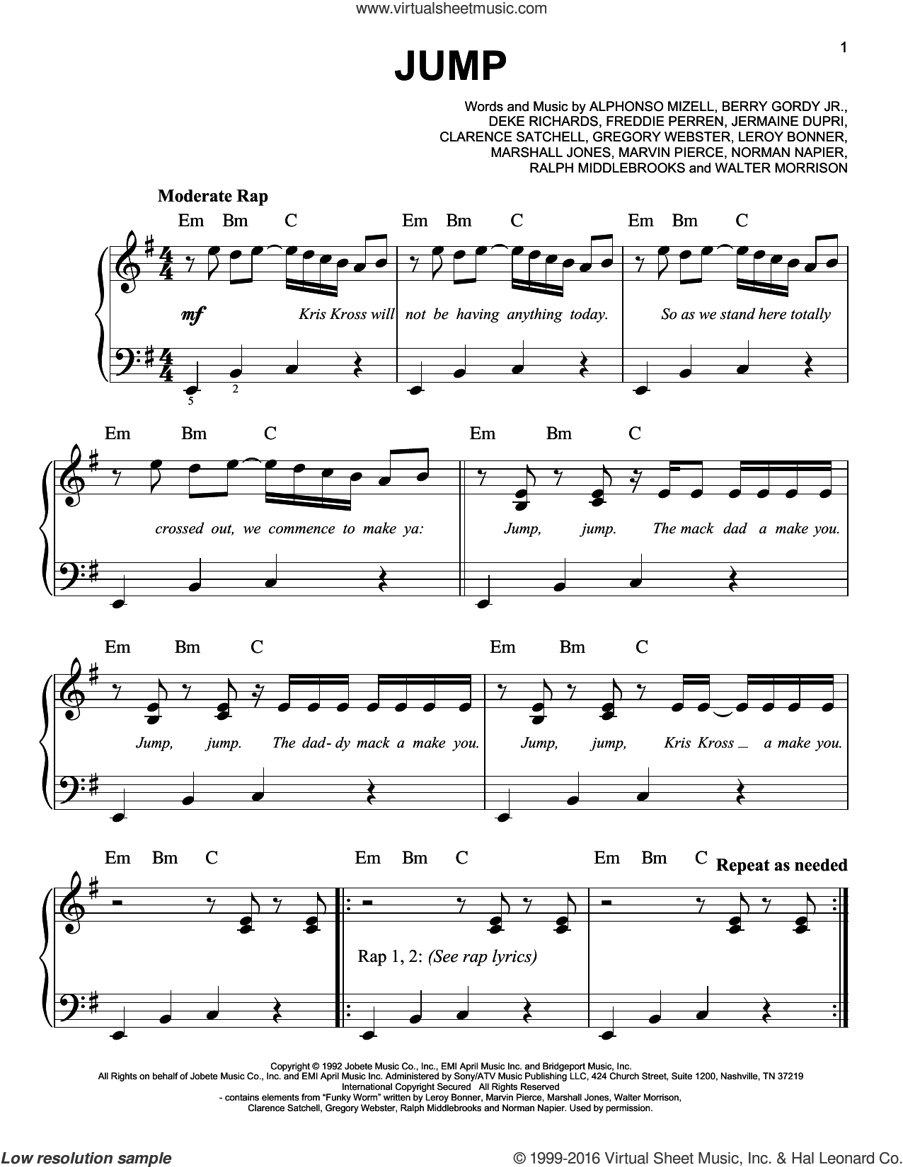 Jump sheet music for piano solo by Kriss Kross, Alphonso Mizell, Berry Gordy Jr., Clarence Satchell, Deke Richards, Frederick Perren, Gregory Webster, Jermaine Dupri, Leroy Bonner, Marshall Jones, Marvin Pierce, Norman Napier, Ralph Middlebrooks and Walter Morrison, easy skill level