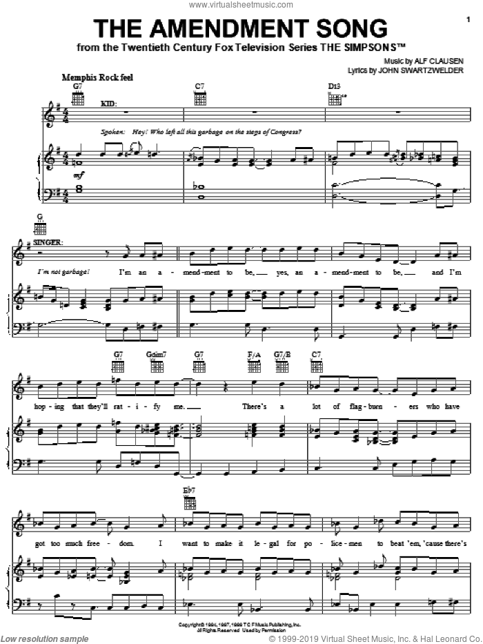 The Amendment Song sheet music for voice, piano or guitar by The Simpsons, Alf Clausen and John Swartzwelder, intermediate skill level